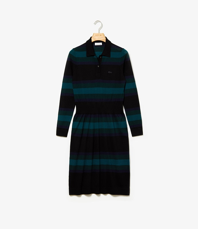 Fitted polo dress in striped wool