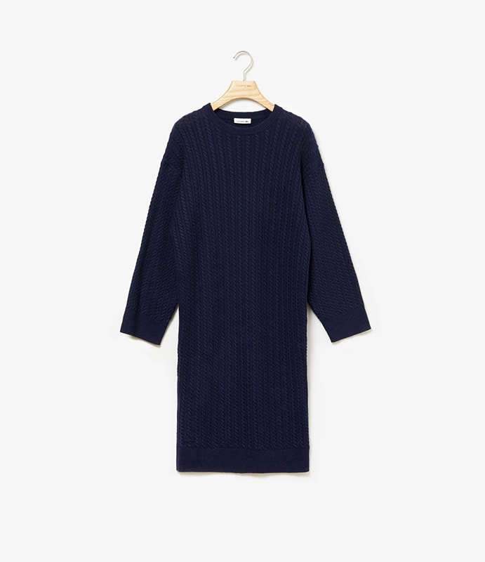 Cable-stitched pullover-dress in cashmere wool with long sleeves