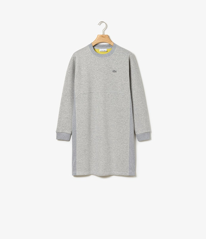 Double faced fleece and jersey dress with ribbed panels