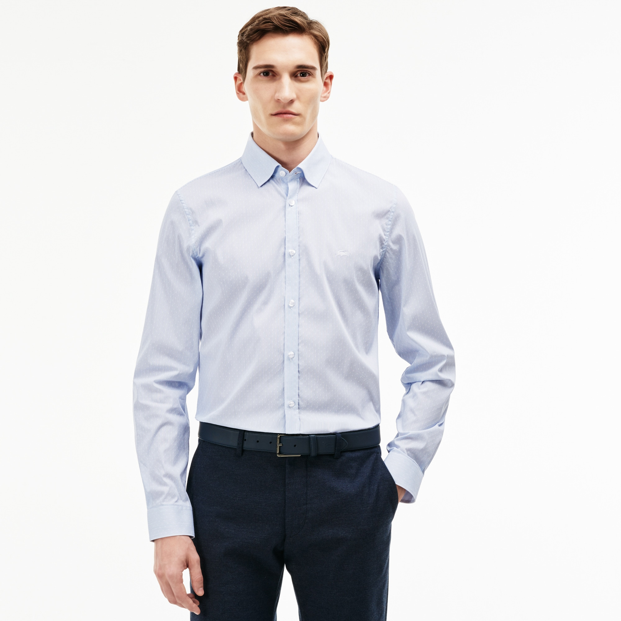 Men's Slim Fit Polka Dots And Stripes Jacquard Poplin Shirt
