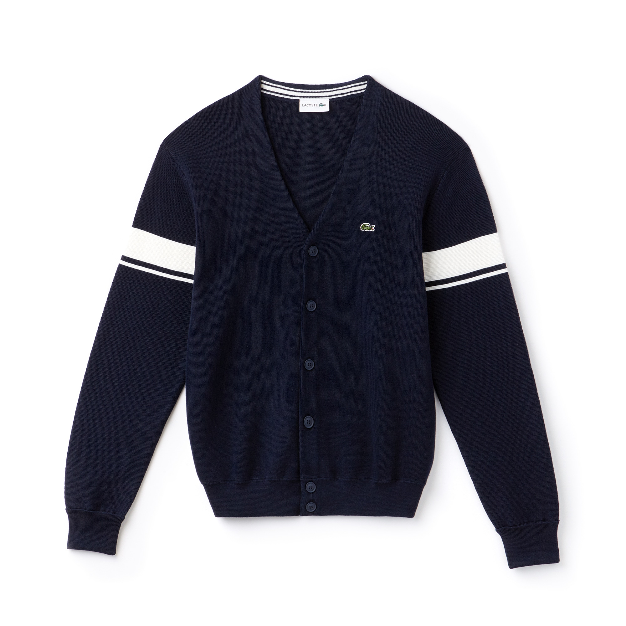 Men's Contrast Bands Seed Stitch Knit Cotton Cardigan