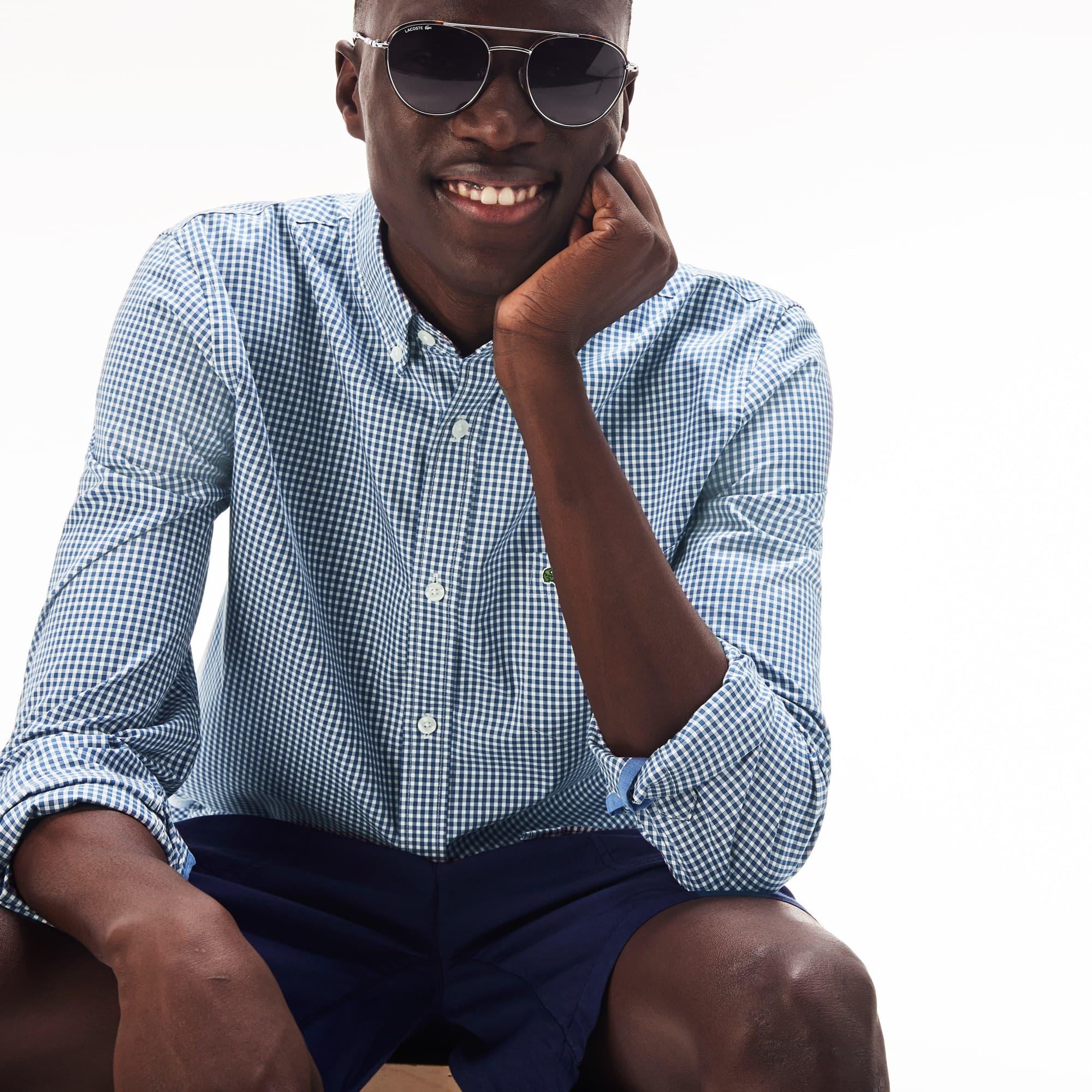Men's Lacoste Motion Regular Fit Check Poplin Shirt