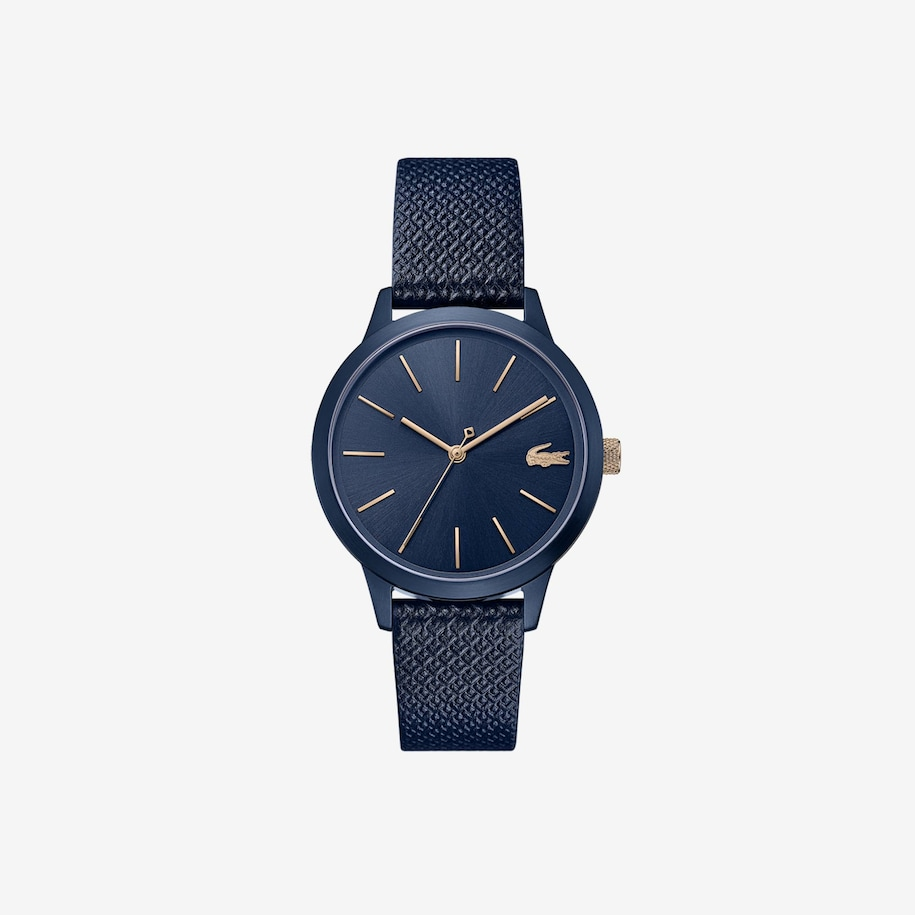 Ladies Lacoste.12.12 Premium Watch With Blue Leather With Embossed Petit Piqué Pattern Strap