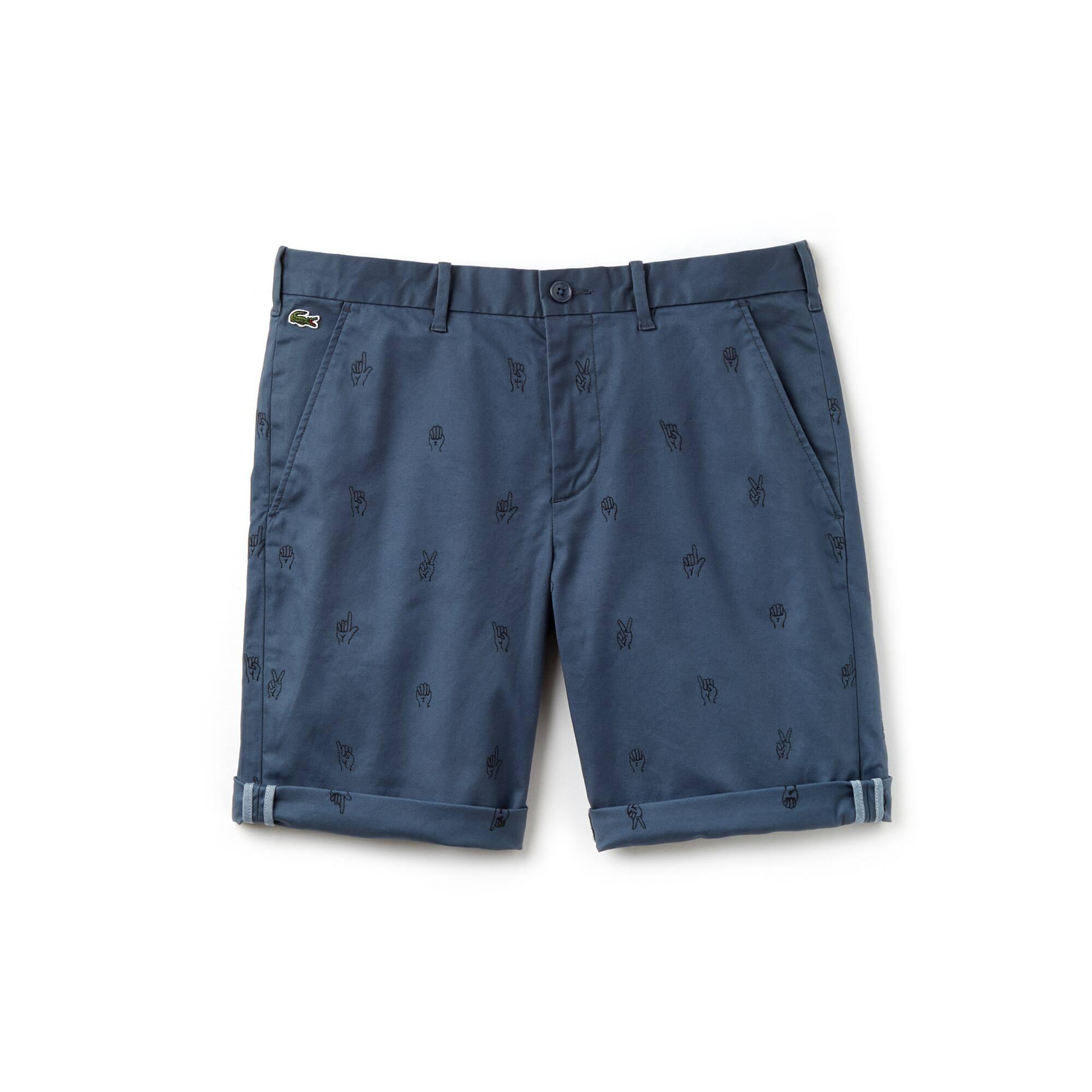Men's Lacoste LIVE Mini Embroidery Stretch Cotton Twill Bermuda Shorts