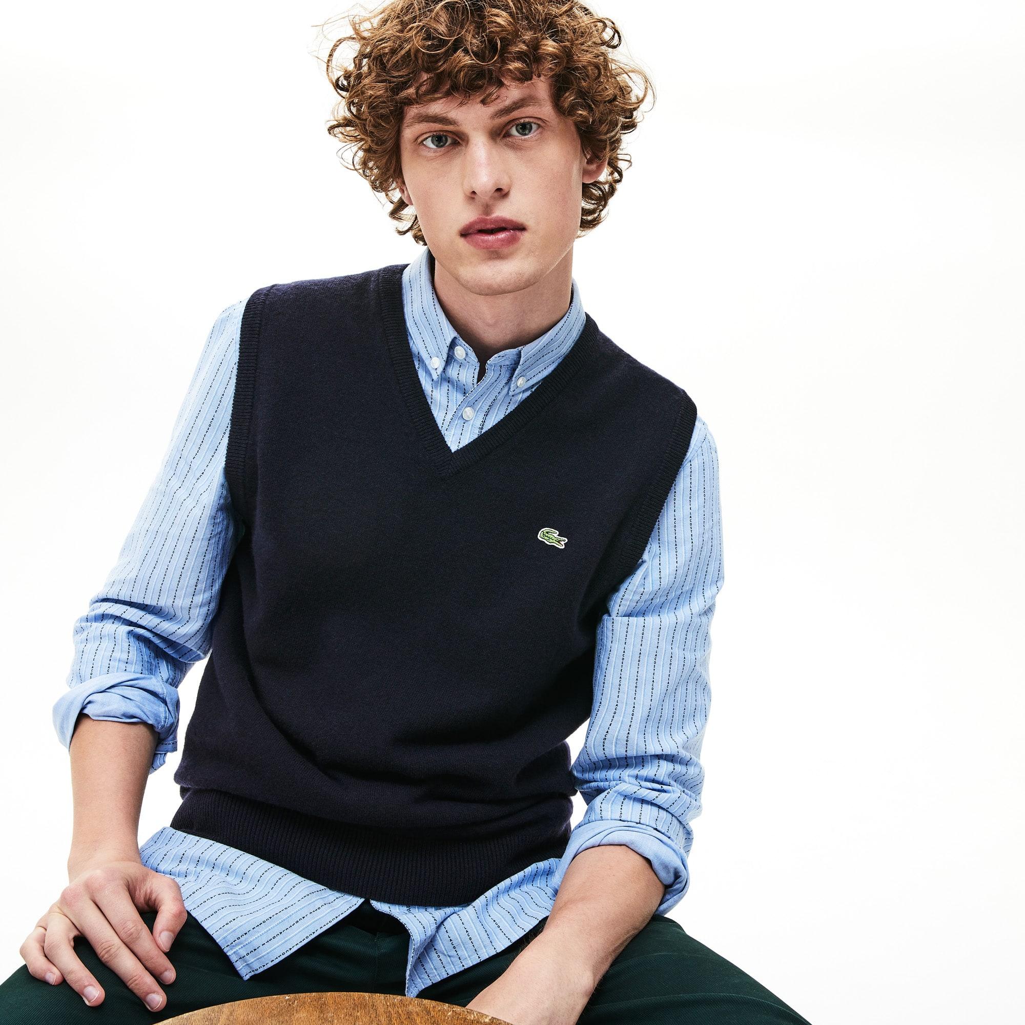 f8575c5223 Men's V-neck Wool Jersey Vest