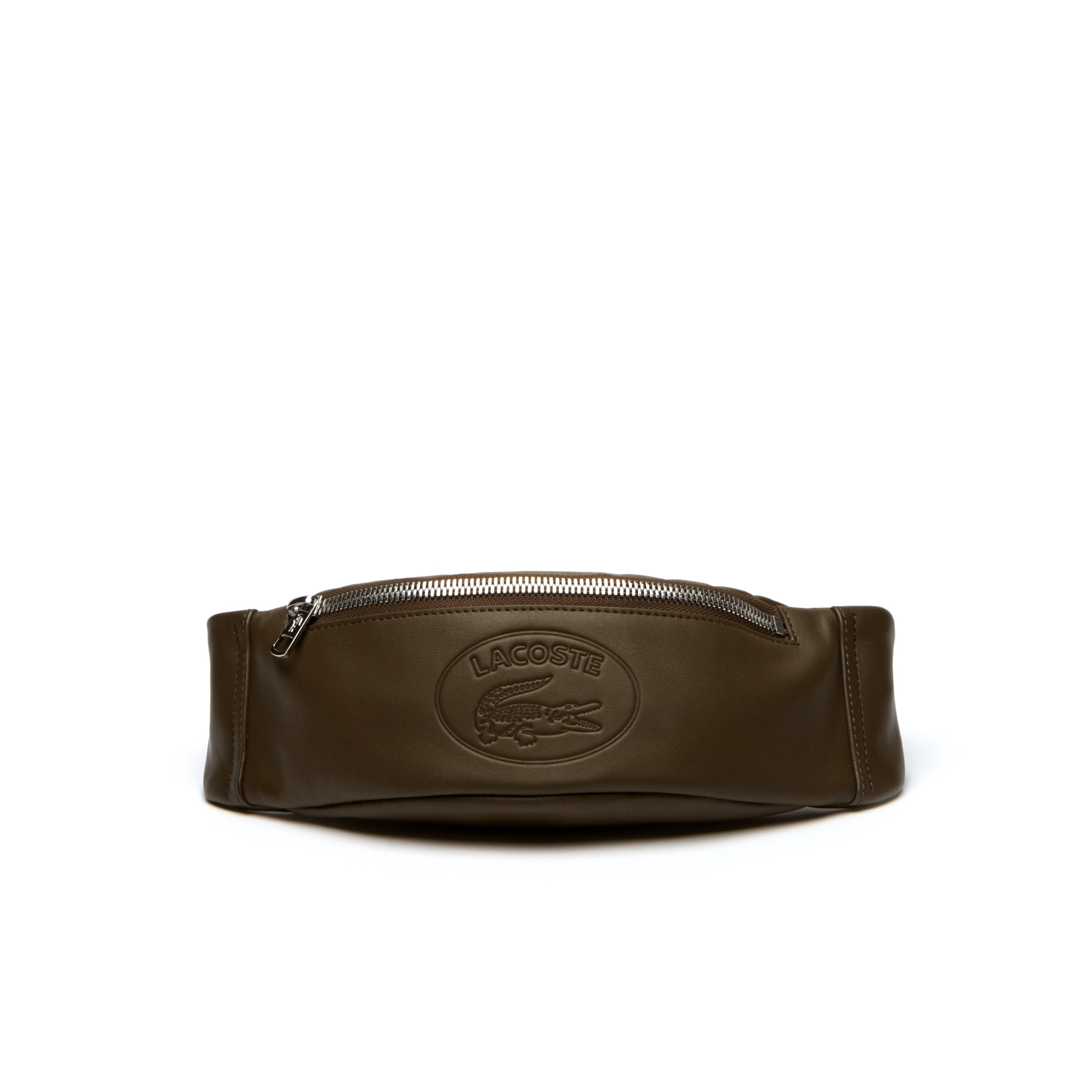 Men's L.12.12 Casual Embossed Lettering Leather Zip Fanny Pack