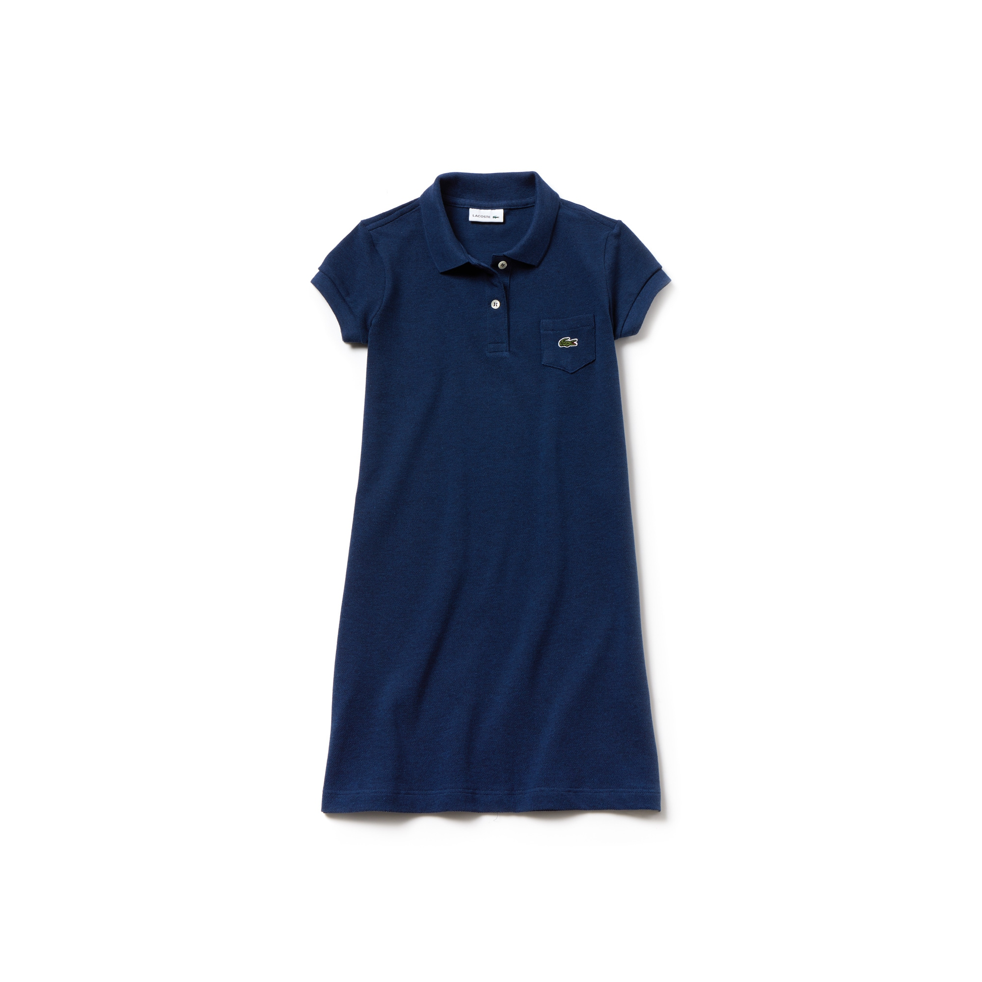 Girls' flared dress in solid mini piqué cotton