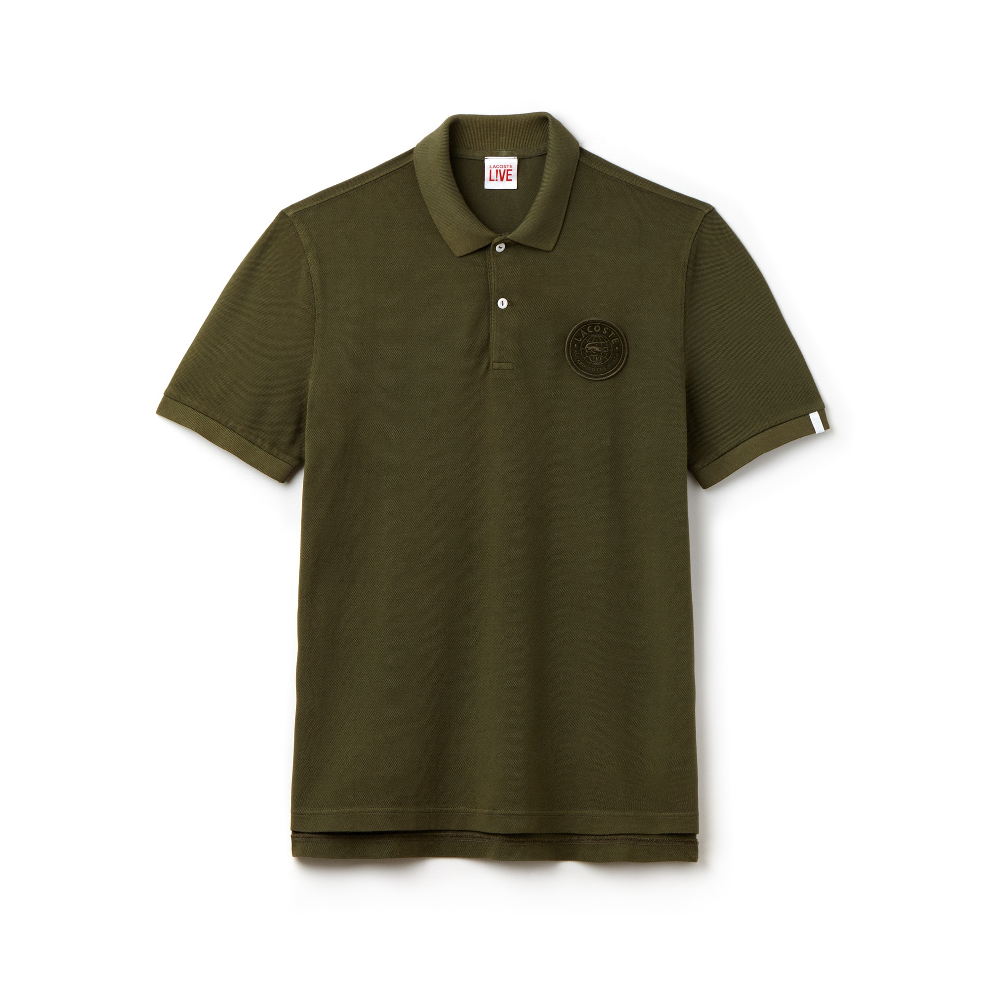 Men's Lacoste LIVE Regular Fit Faded Petit Piqué Polo Shirt With Badge