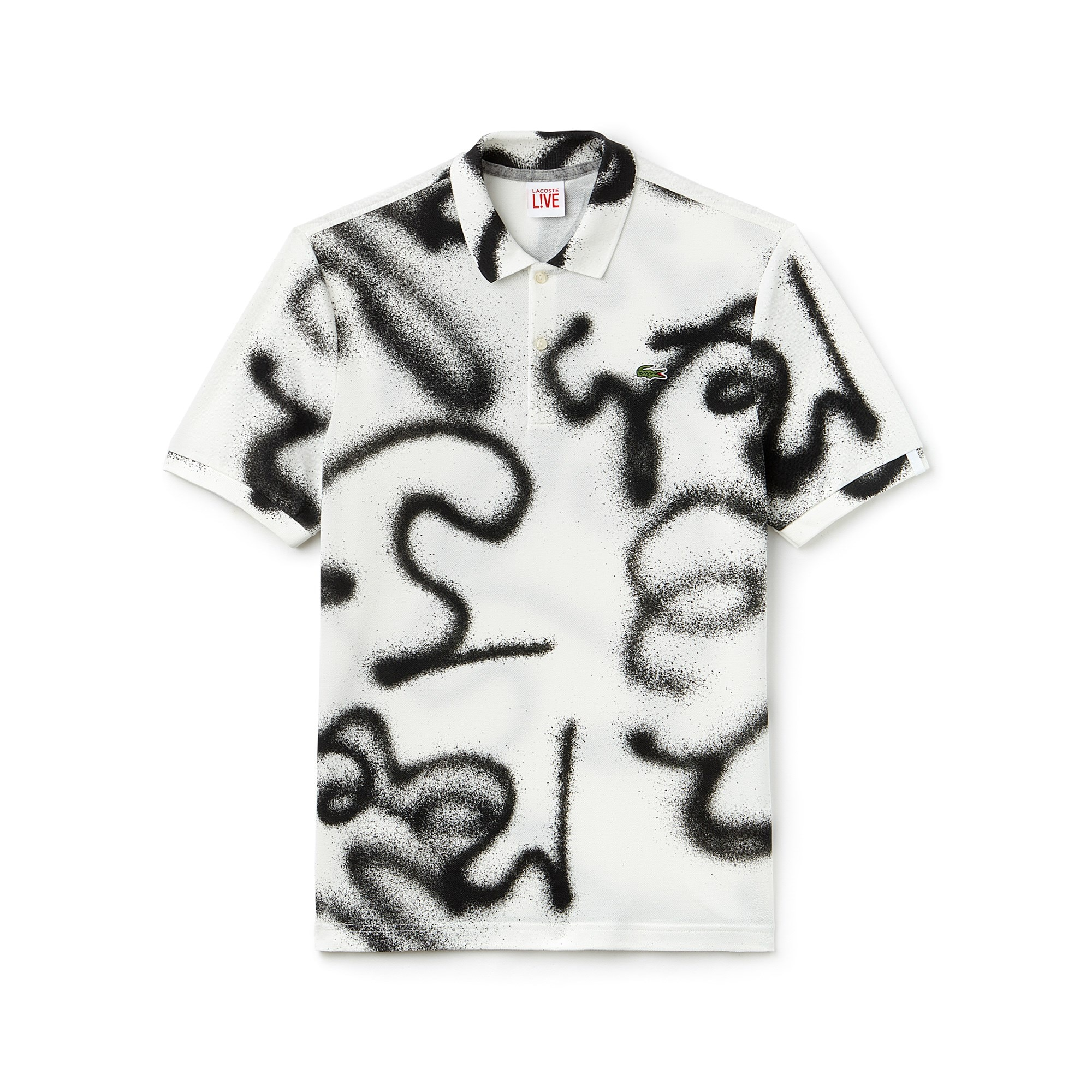 Men's Lacoste LIVE Regular Fit Graffiti Print Mini Piqué Polo Shirt