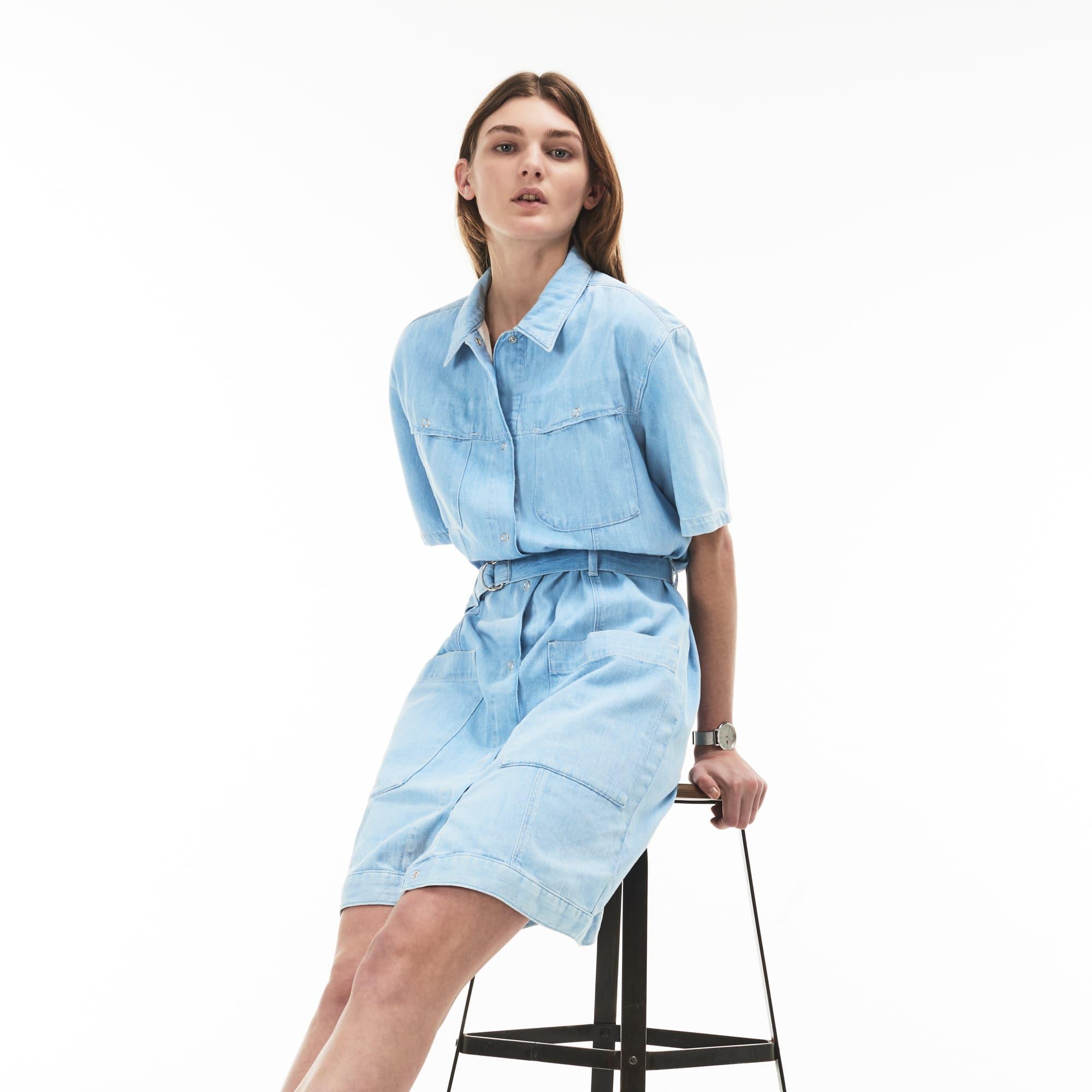 Women's Multi-Pocket Cotton Denim Belted Dress