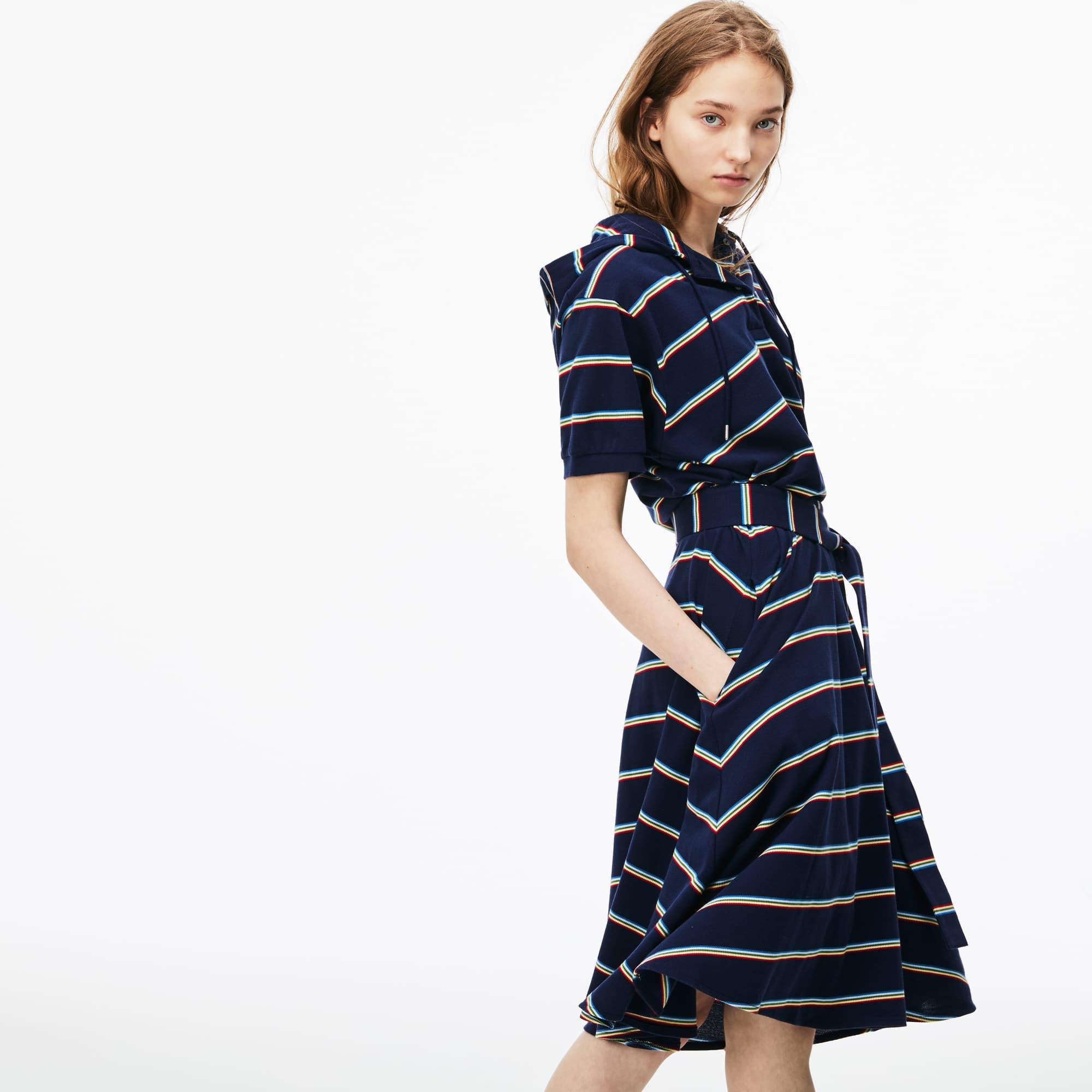 Women's Hooded Striped Cotton Piqué Polo Dress