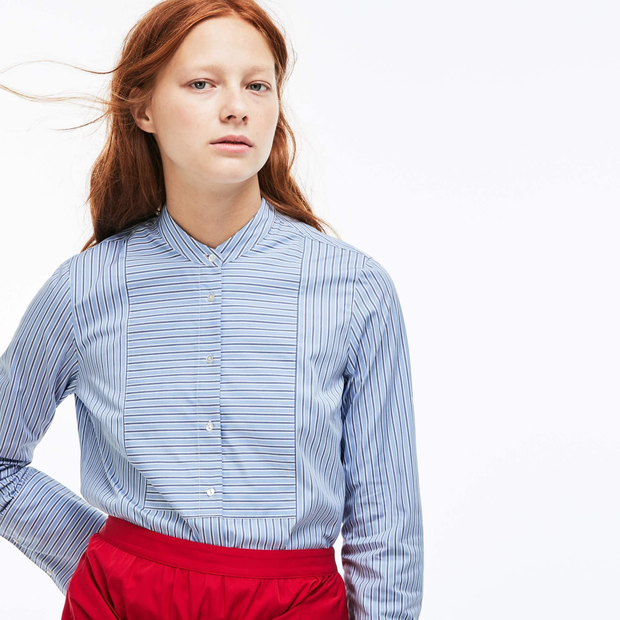 Women's Lacoste LIVE Boxy Fit Striped Poplin Shirt
