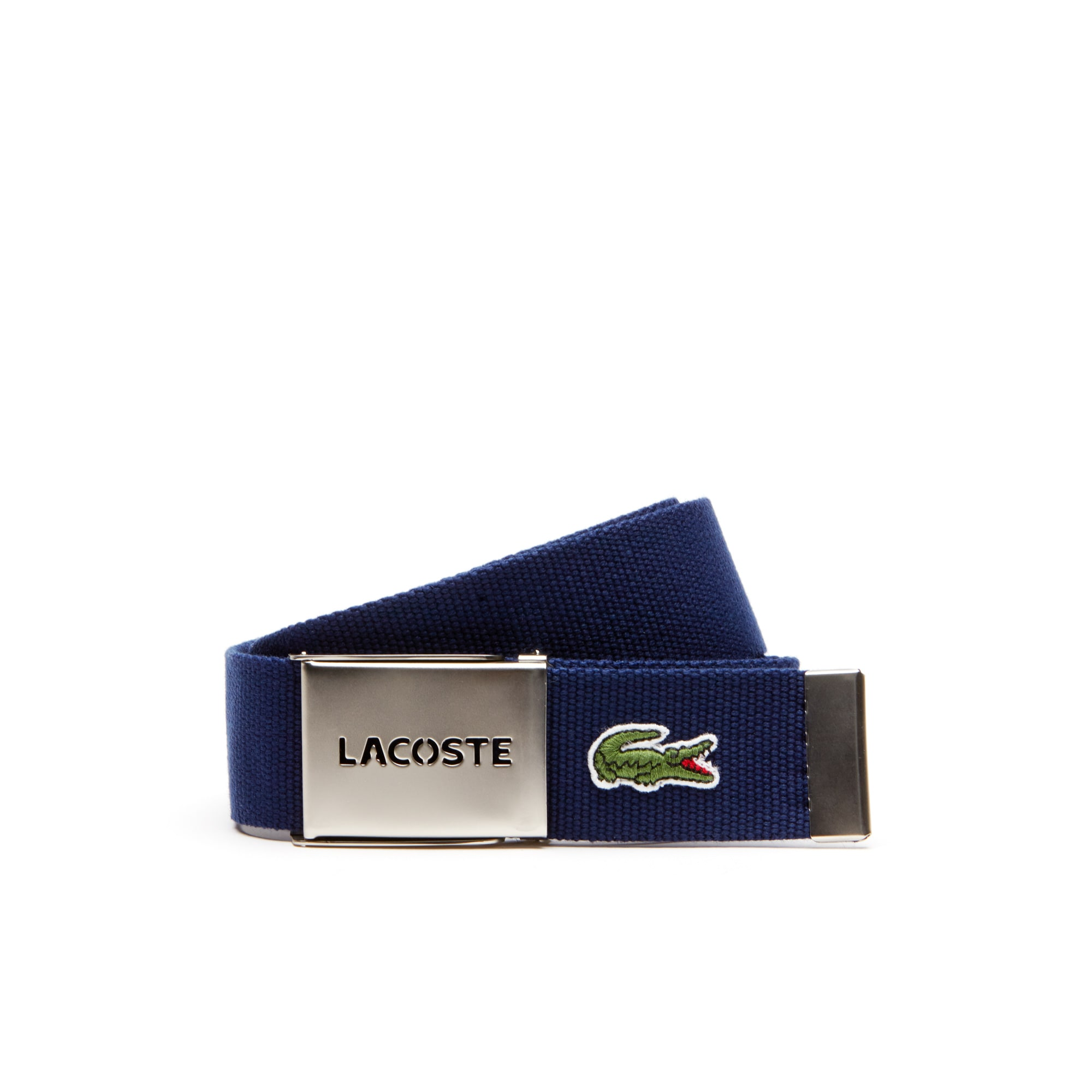 Men's Belt with perforated Lacoste plate