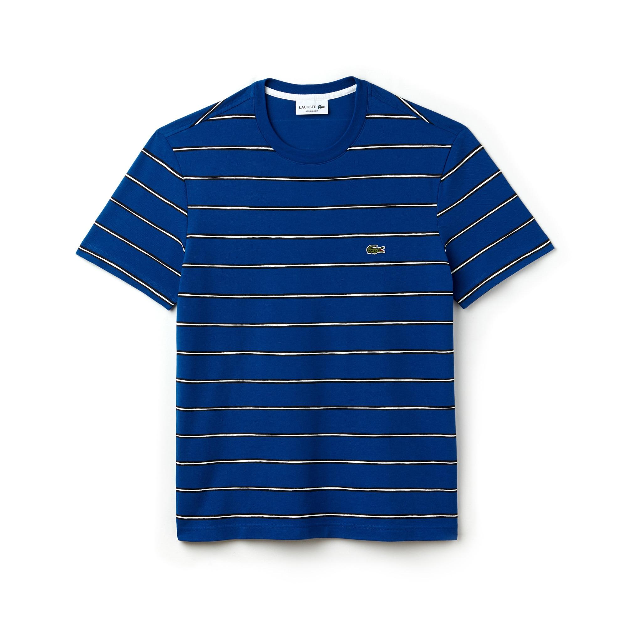 Men's Crew Neck Striped Print Cotton Mini Piqué T-shirt
