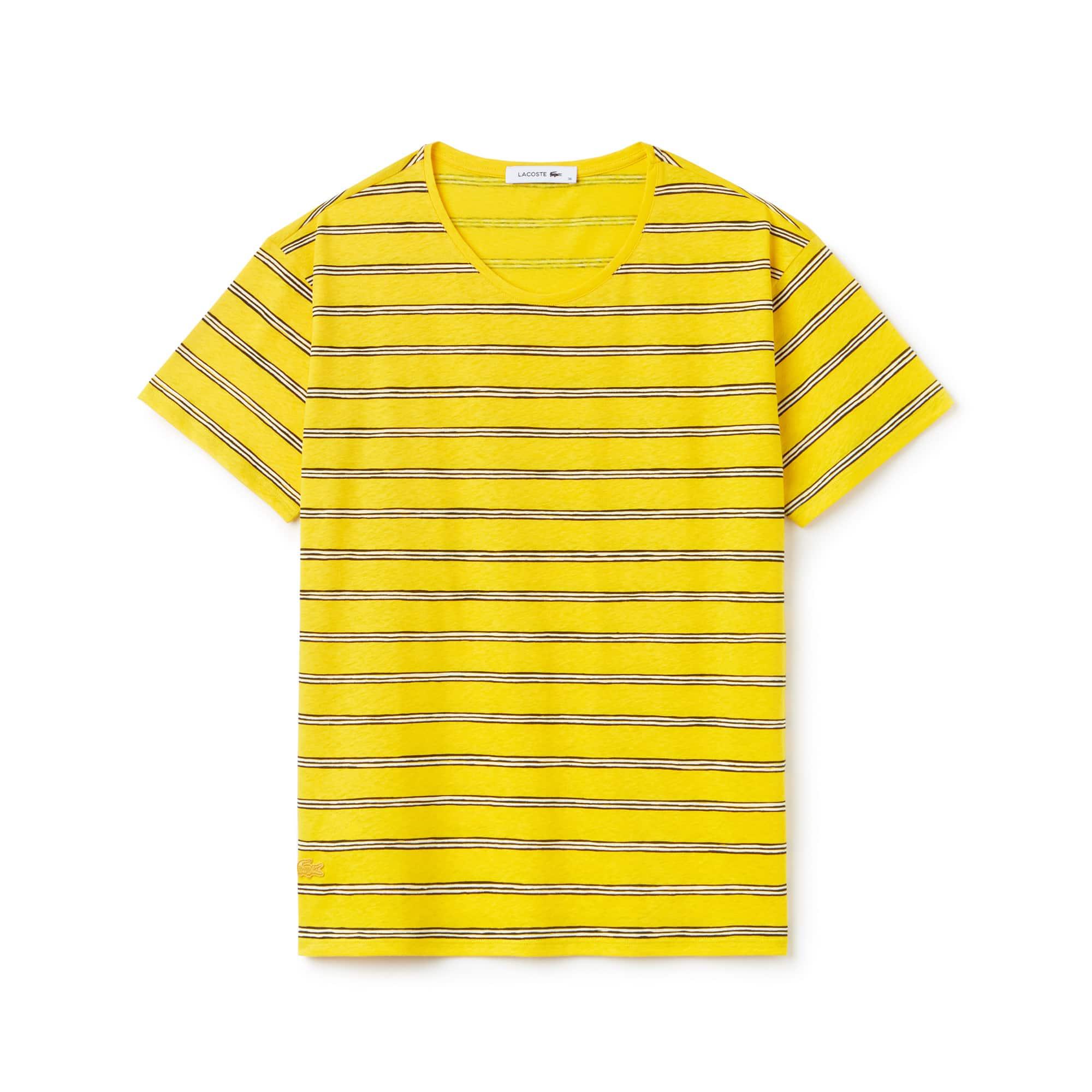 Women's Wide Neck Striped Cotton And Linen Jersey T-shirt