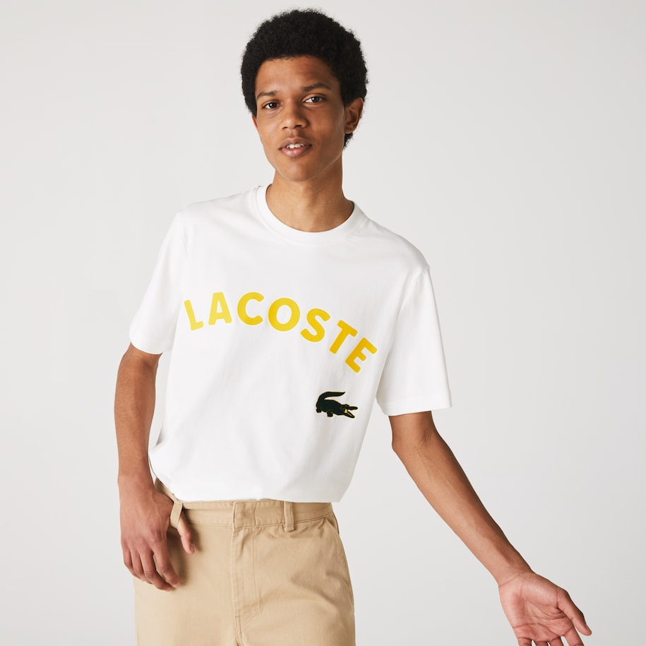 Men's Lacoste LIVE Oversized Crocodile Print Cotton T-shirt