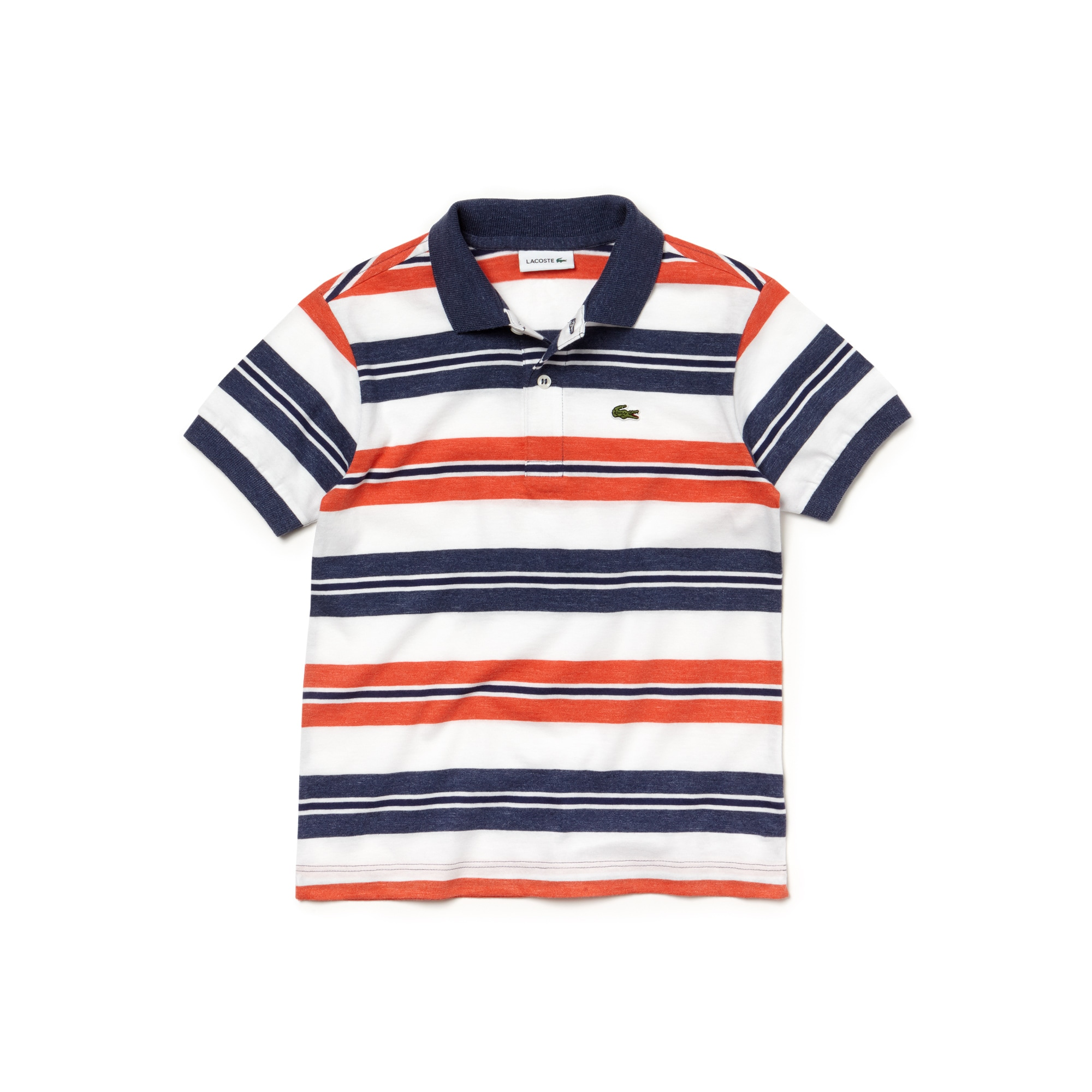 Boys' Lacoste Striped Cotton Jersey Polo Shirt