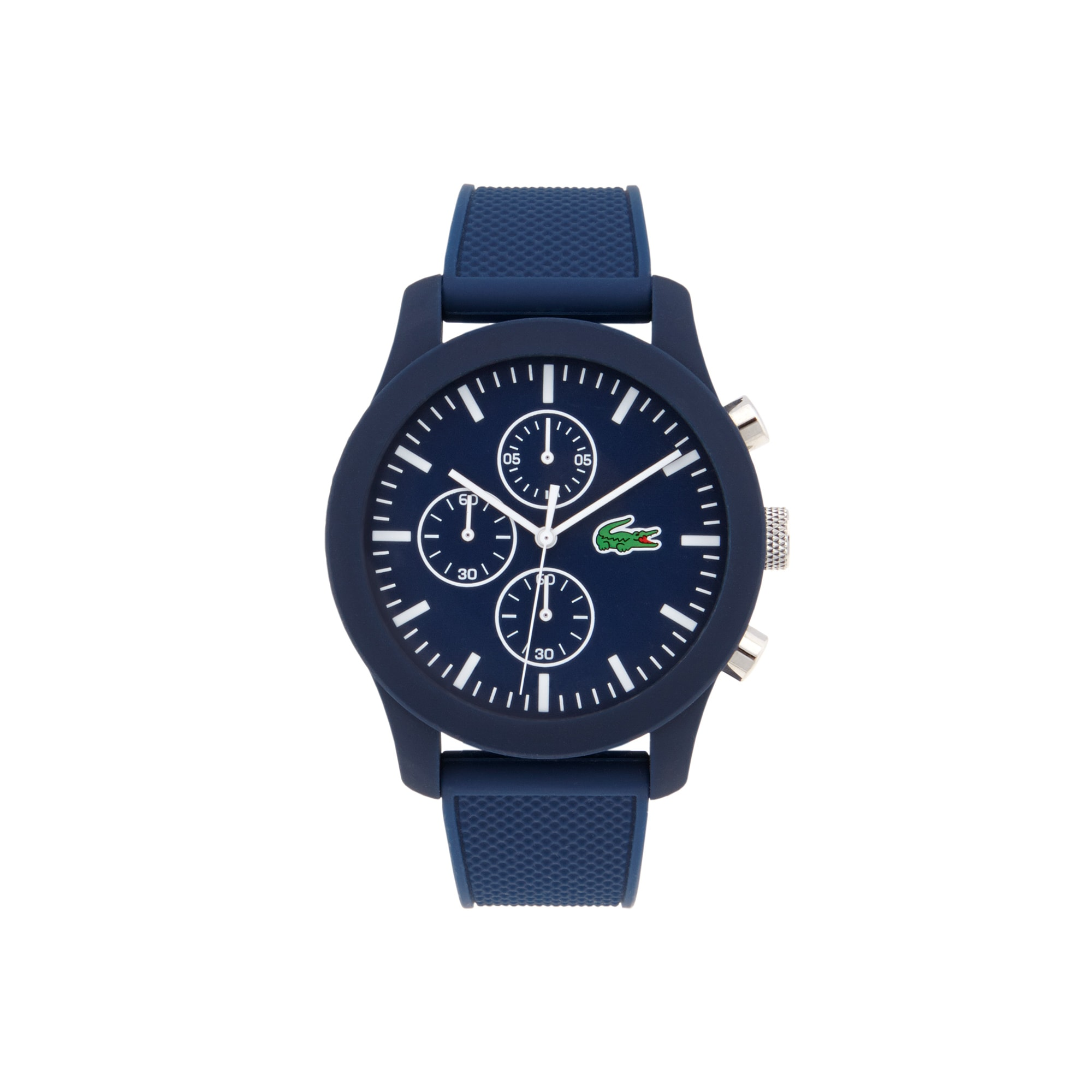 Lacoste.12.12 chronograph watch with blue silicone strap