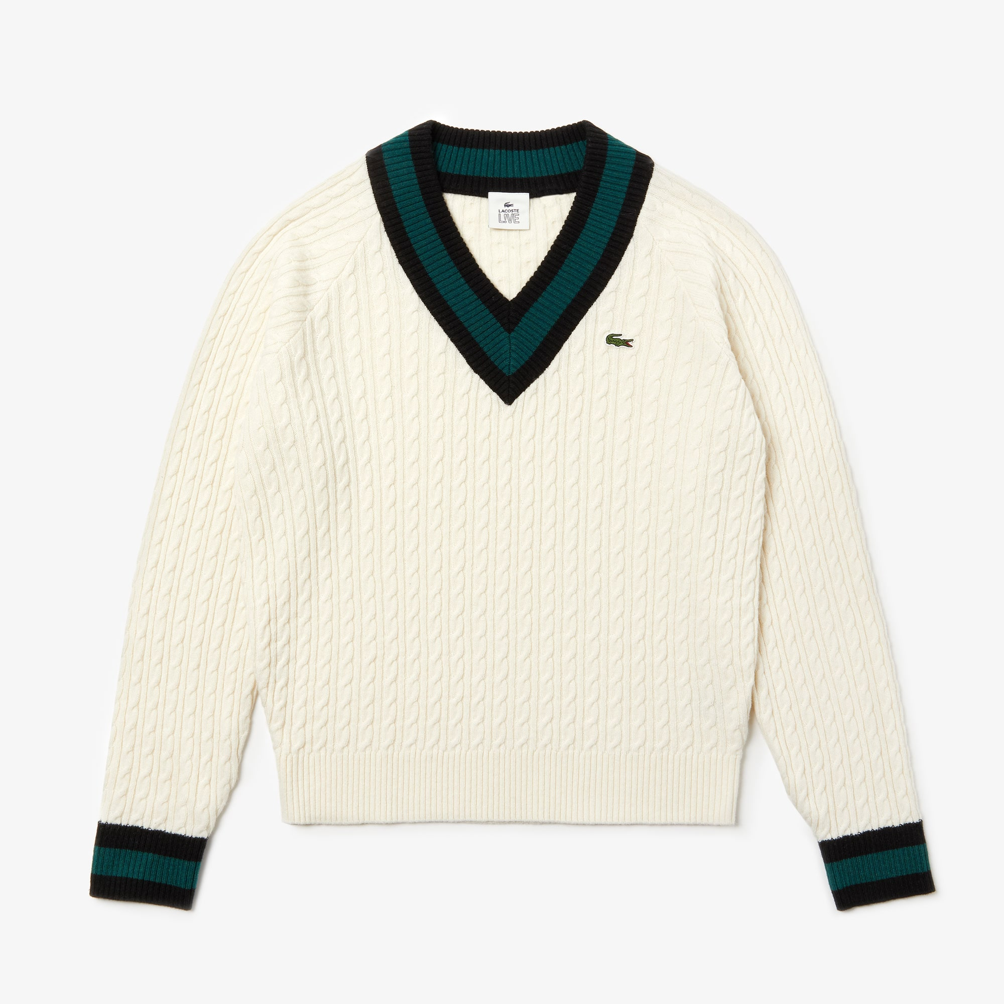 special for shoe good service 50% off Unisex Lacoste LIVE V-neck Cable Knit Wool Blend Sweater
