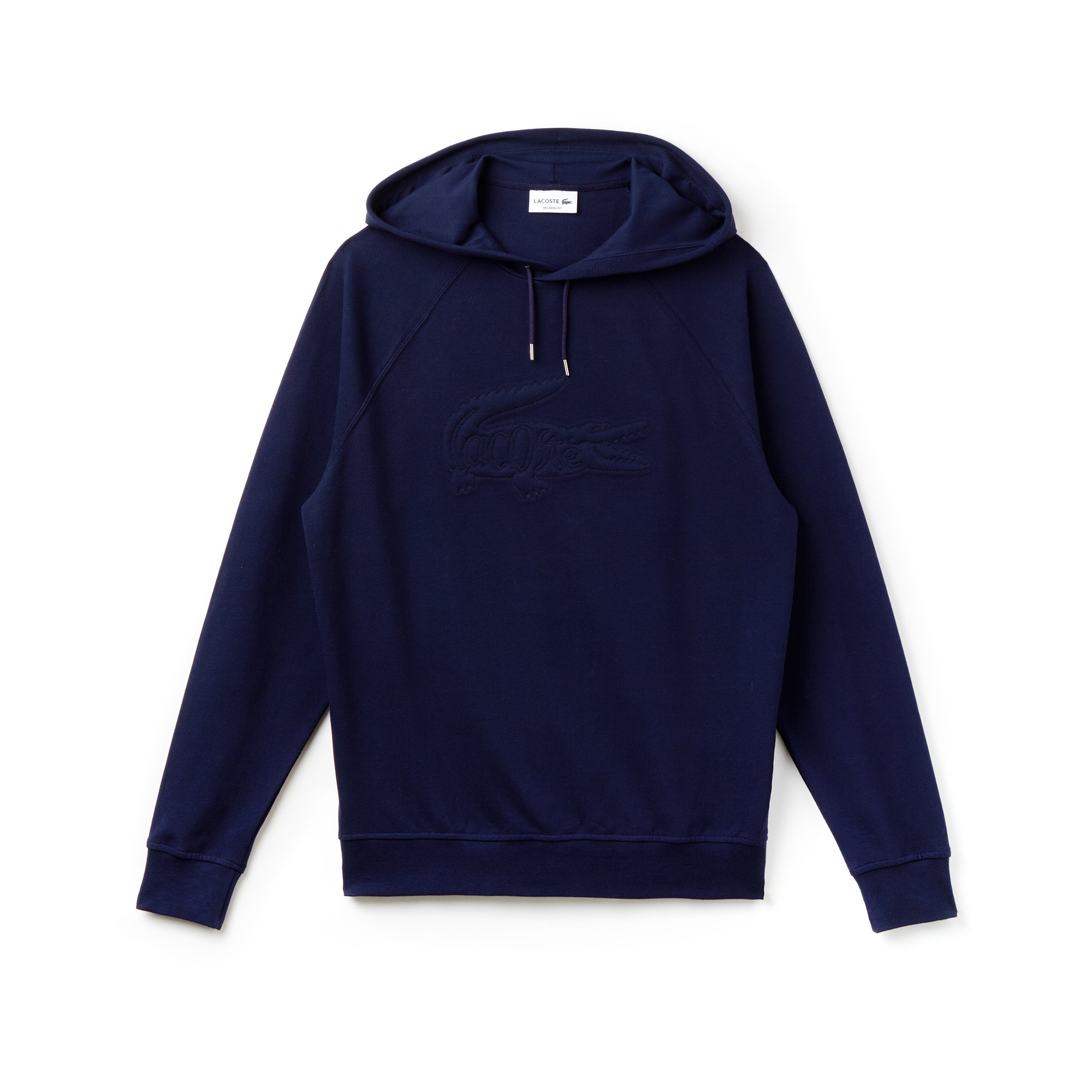 Men's Oversized Embroidered Hooded Piqué Sweatshirt