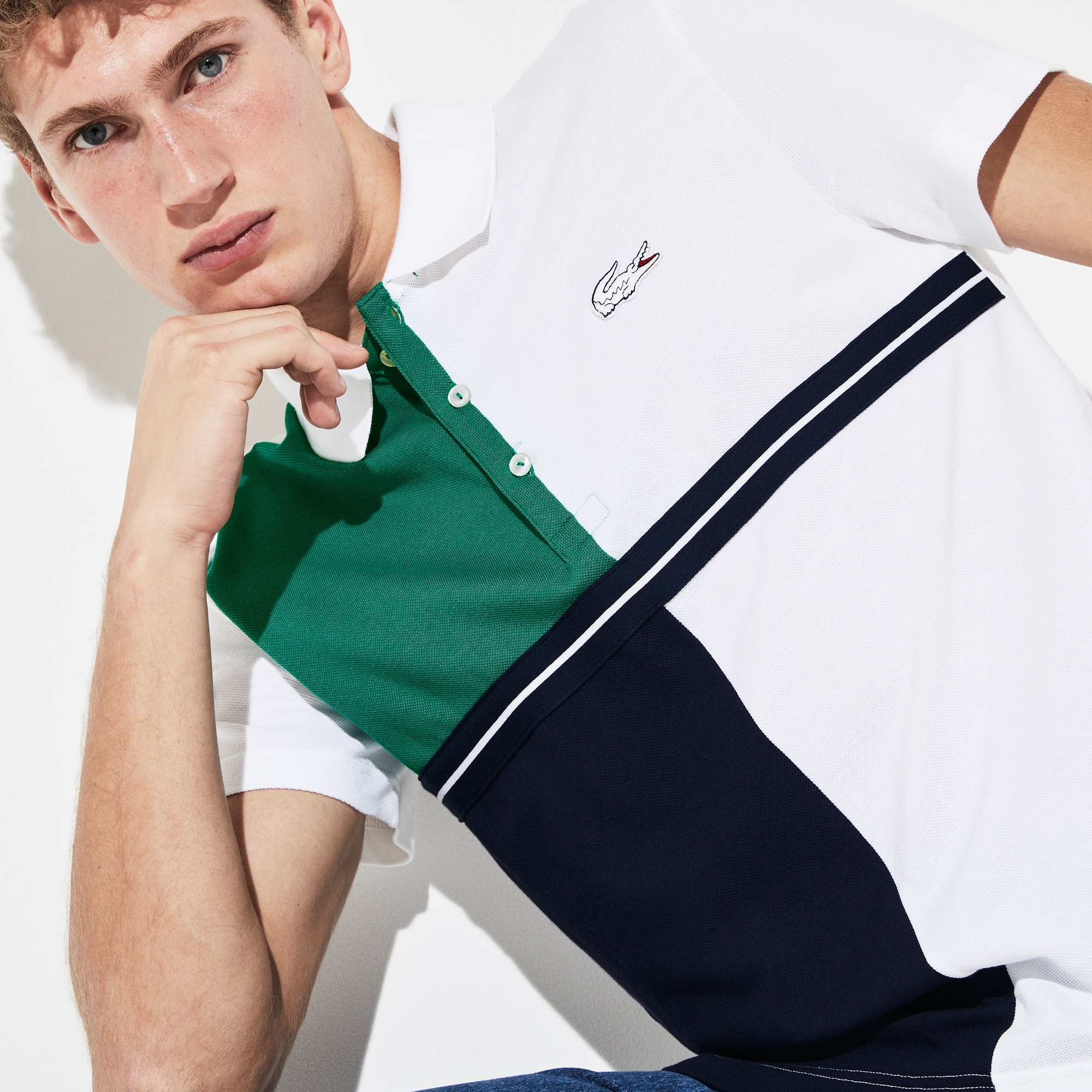 Men's Lacoste SPORT French Open Colourblock Petit Piqué Polo Shirt