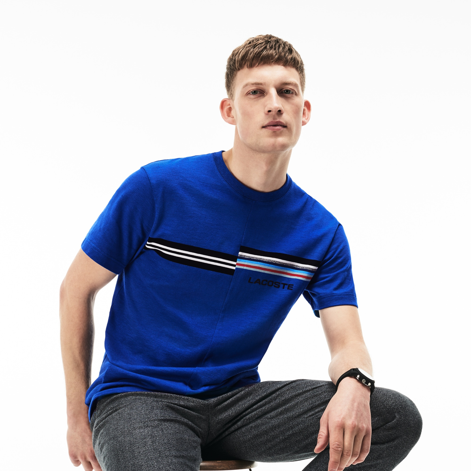 Men's 3D Lacoste Branding and Print Jersey Crew Neck T-shirt