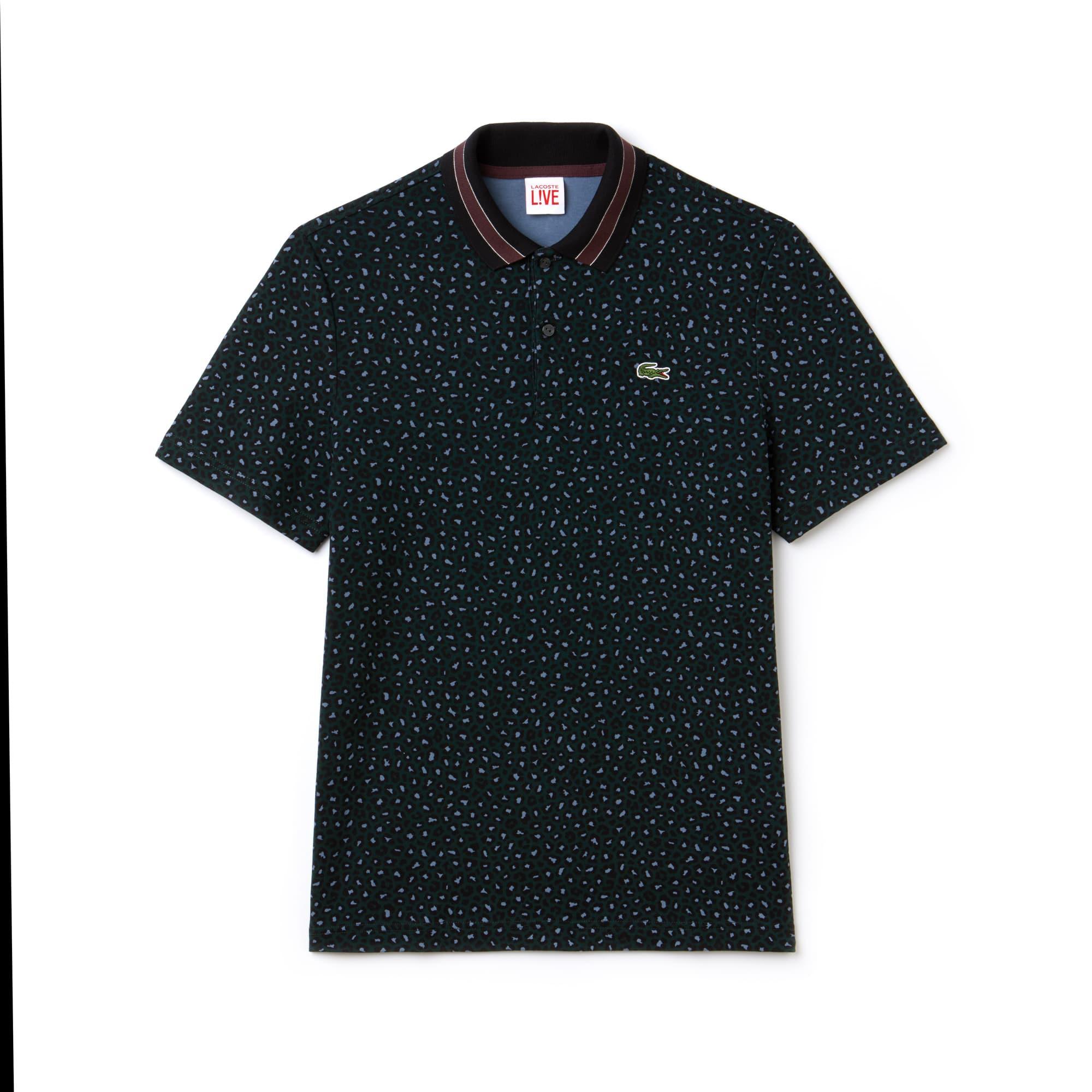 Men's Lacoste LIVE Regular Fit Leopard Print Interlock Polo