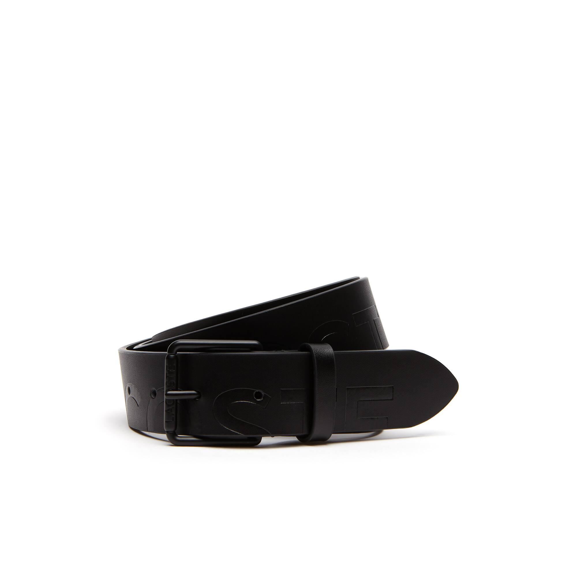 Men's Engraved Rolling Tongue Buckle Lacoste Lettering Leather Belt