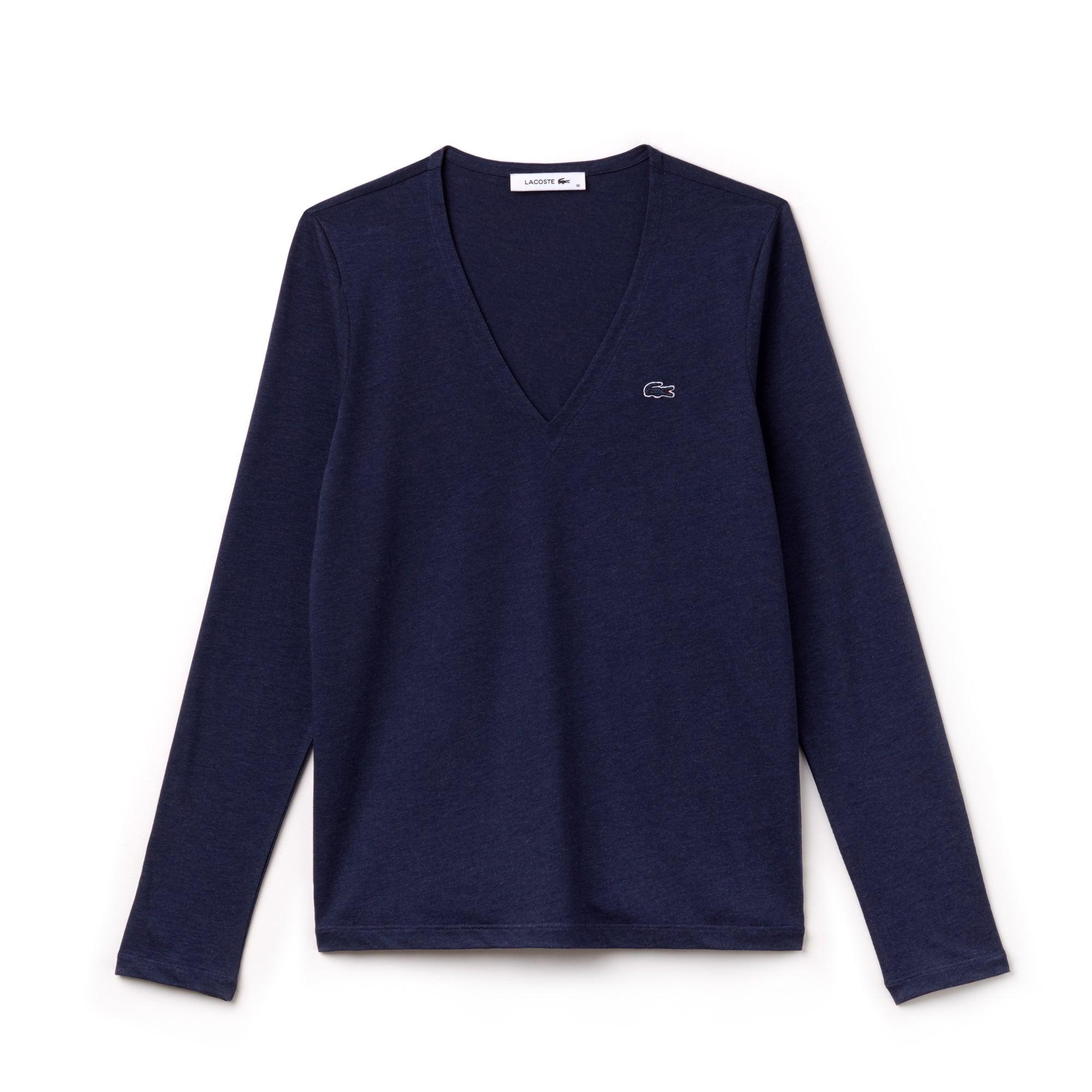 Women's V-neck Flowing Cotton Jersey T-shirt