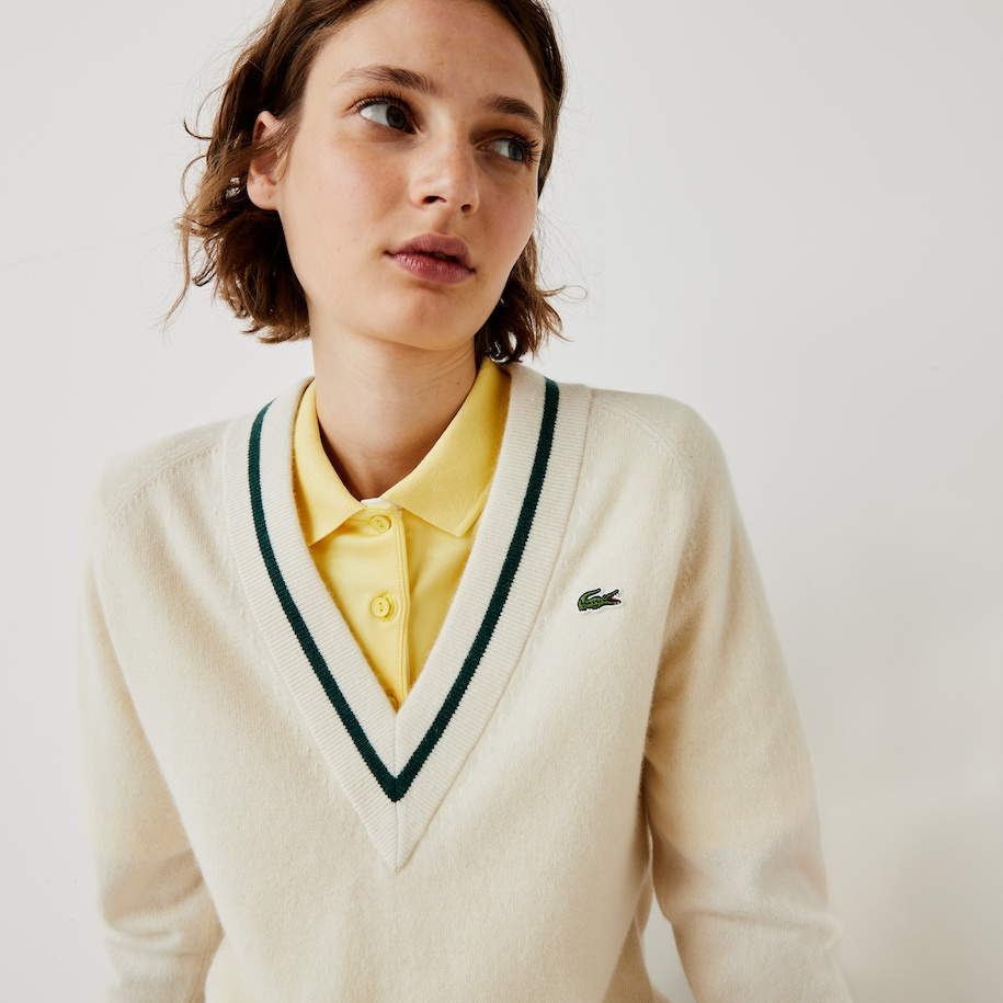Women's Lacoste SPORT Recycled Cashmere V-neck Golf Sweater