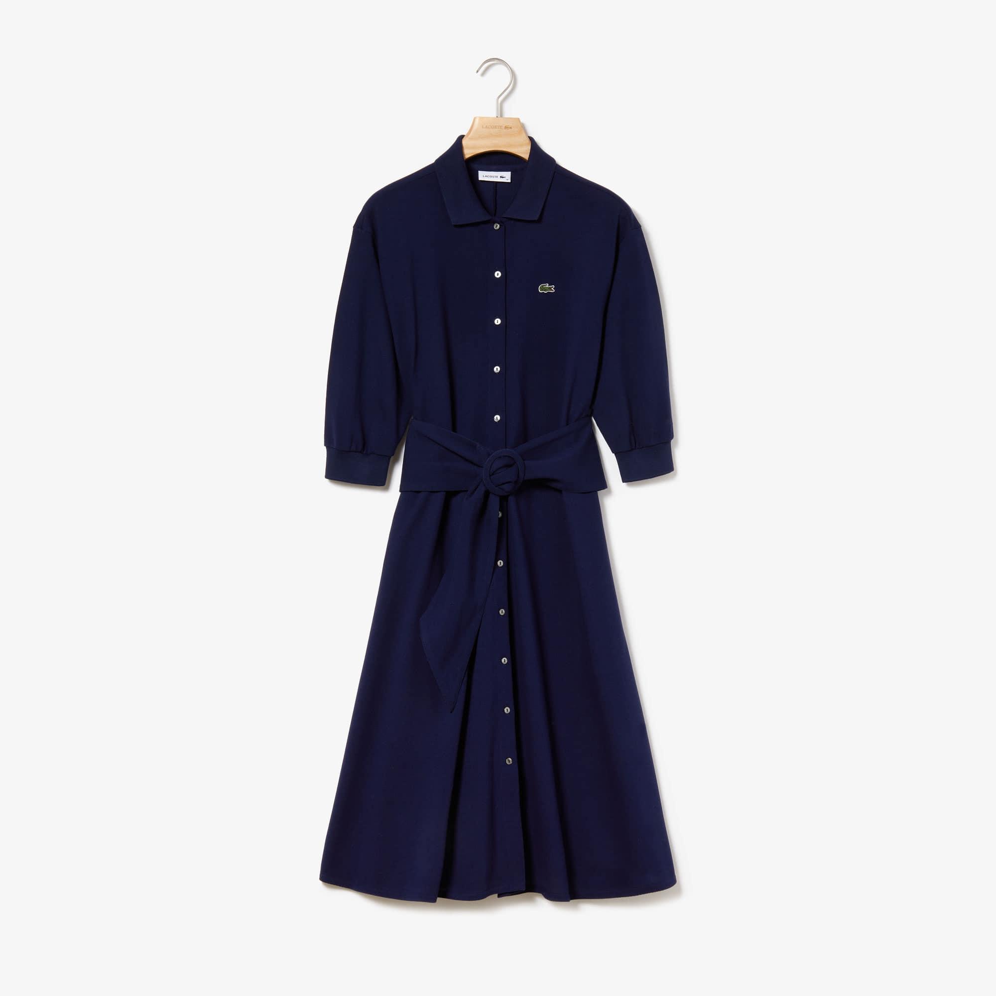 Women's Belted Buttoned Soft Petit Piqué Polo Dress