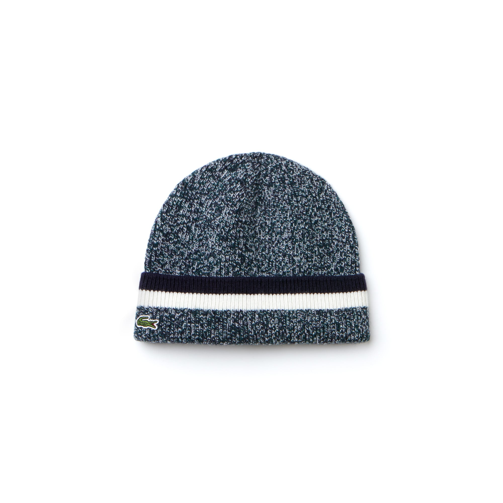 Men's Made In France Turned Edge Mouliné Ribbed Wool Beanie