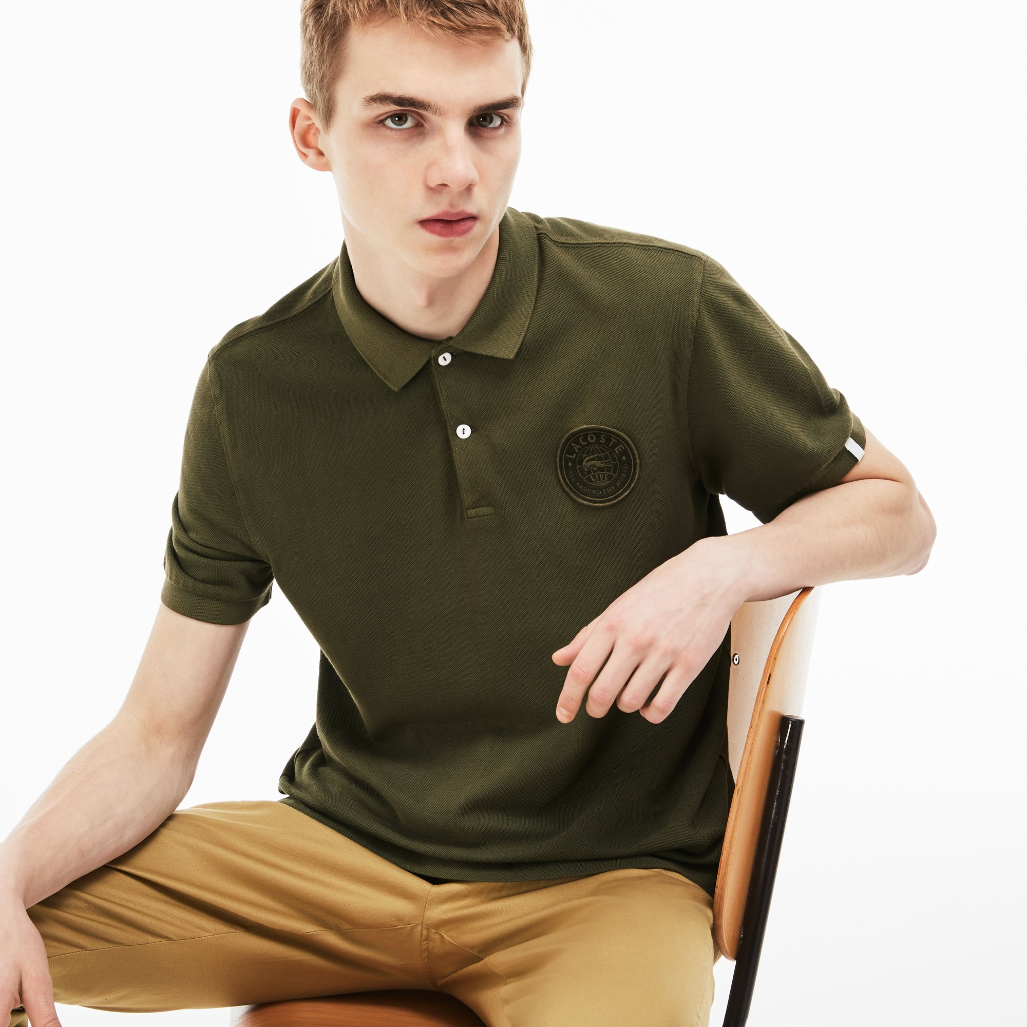Men's Lacoste LIVE Regular Fit Faded Petit Piqué Polo With Badge