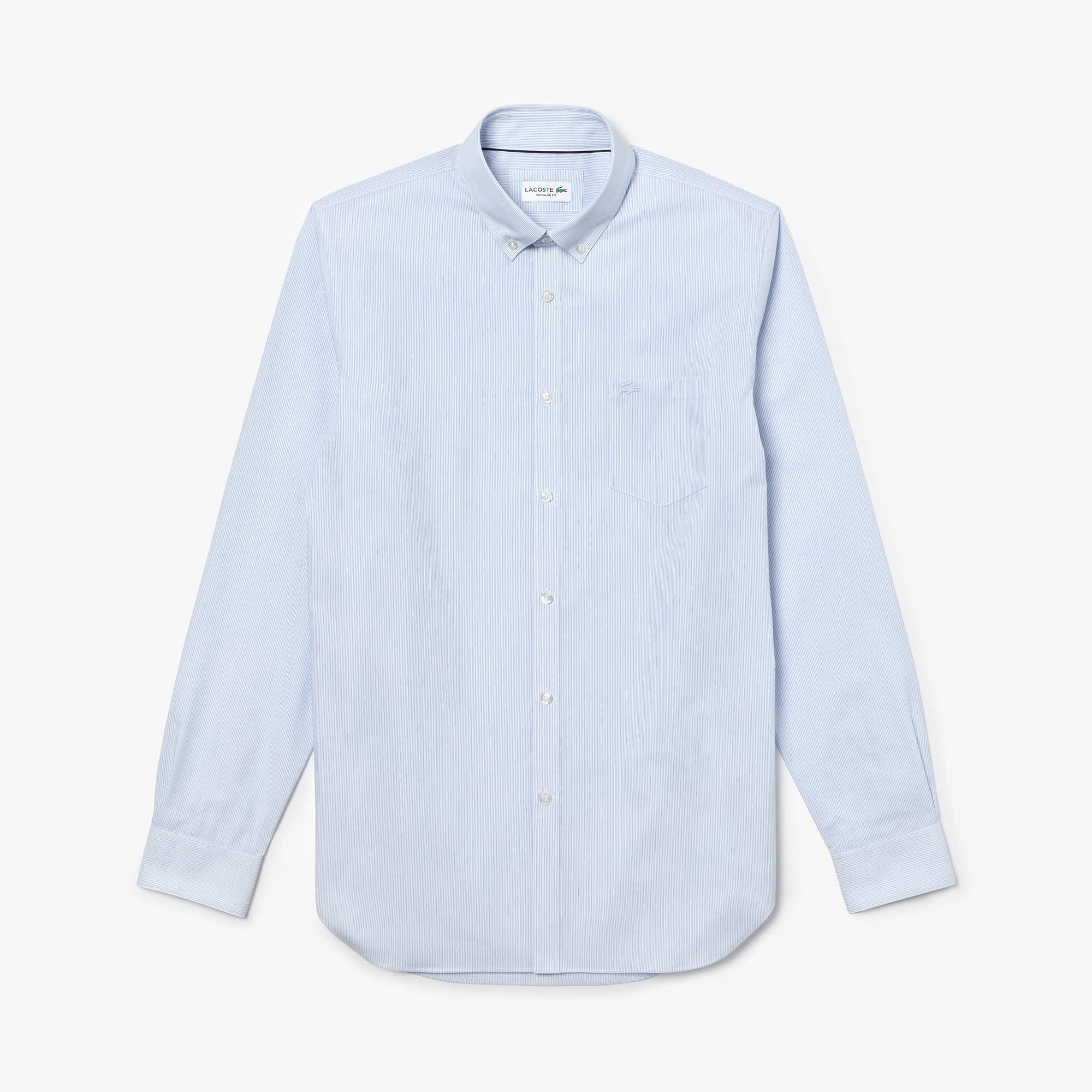 Men's Regular Fit Striped Cotton Poplin Shirt