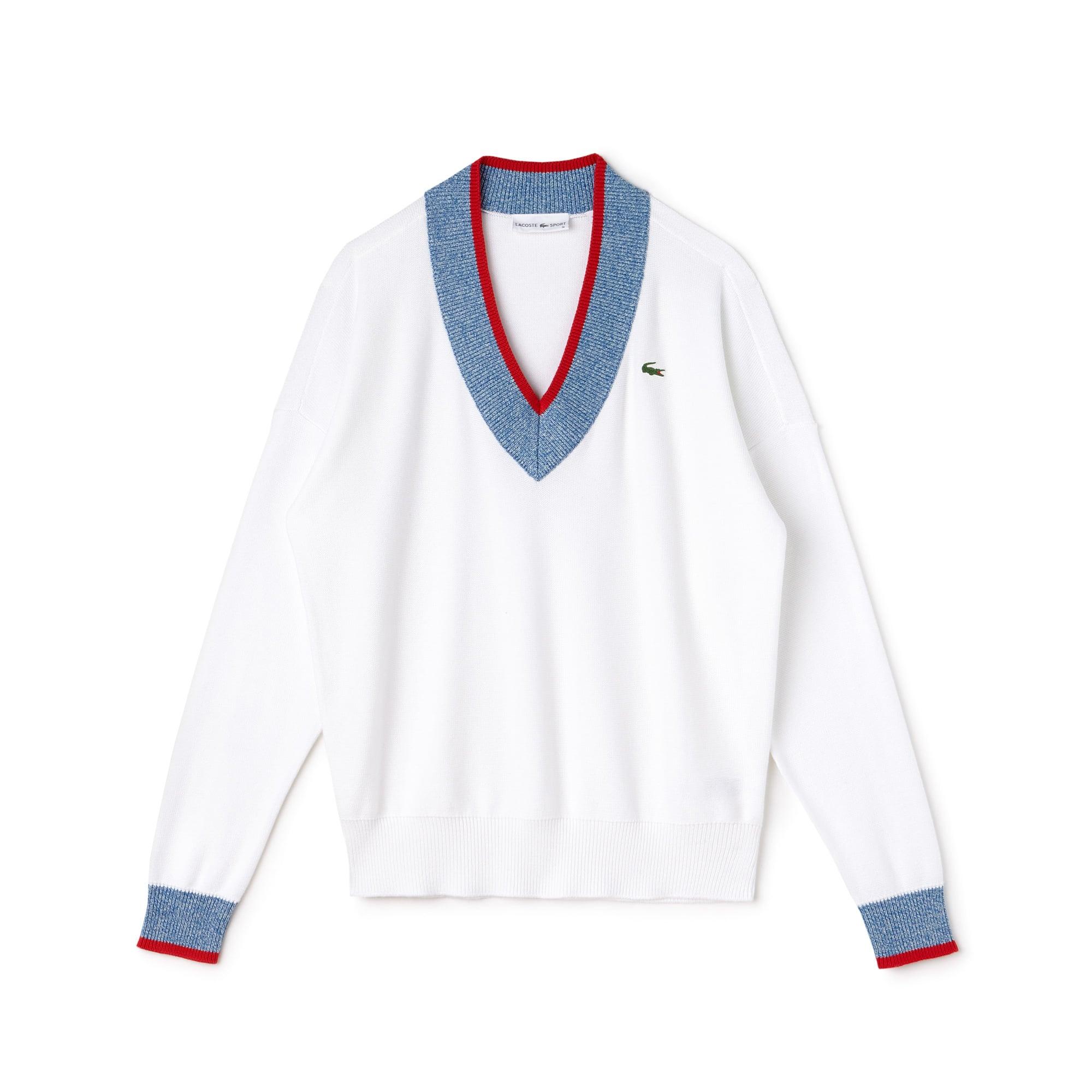 Women's Lacoste SPORT V-neck Contrast Finish Jersey Golf Sweater