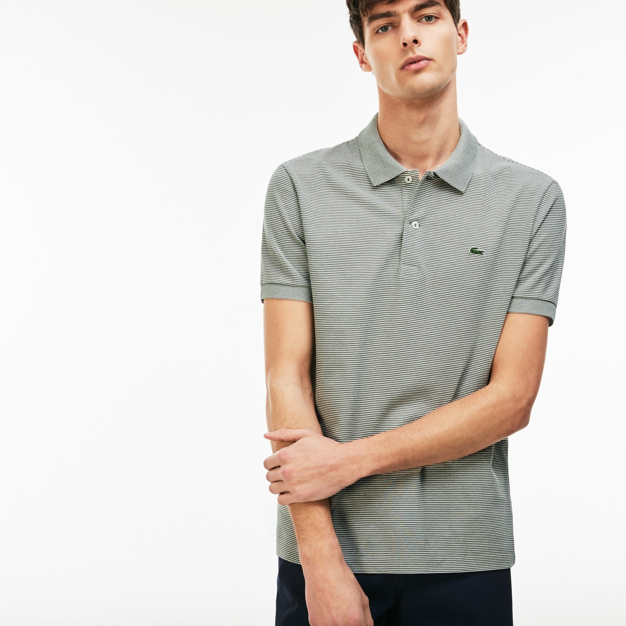 Men's Lacoste Regular Fit Striped Mini Piqué Polo Shirt