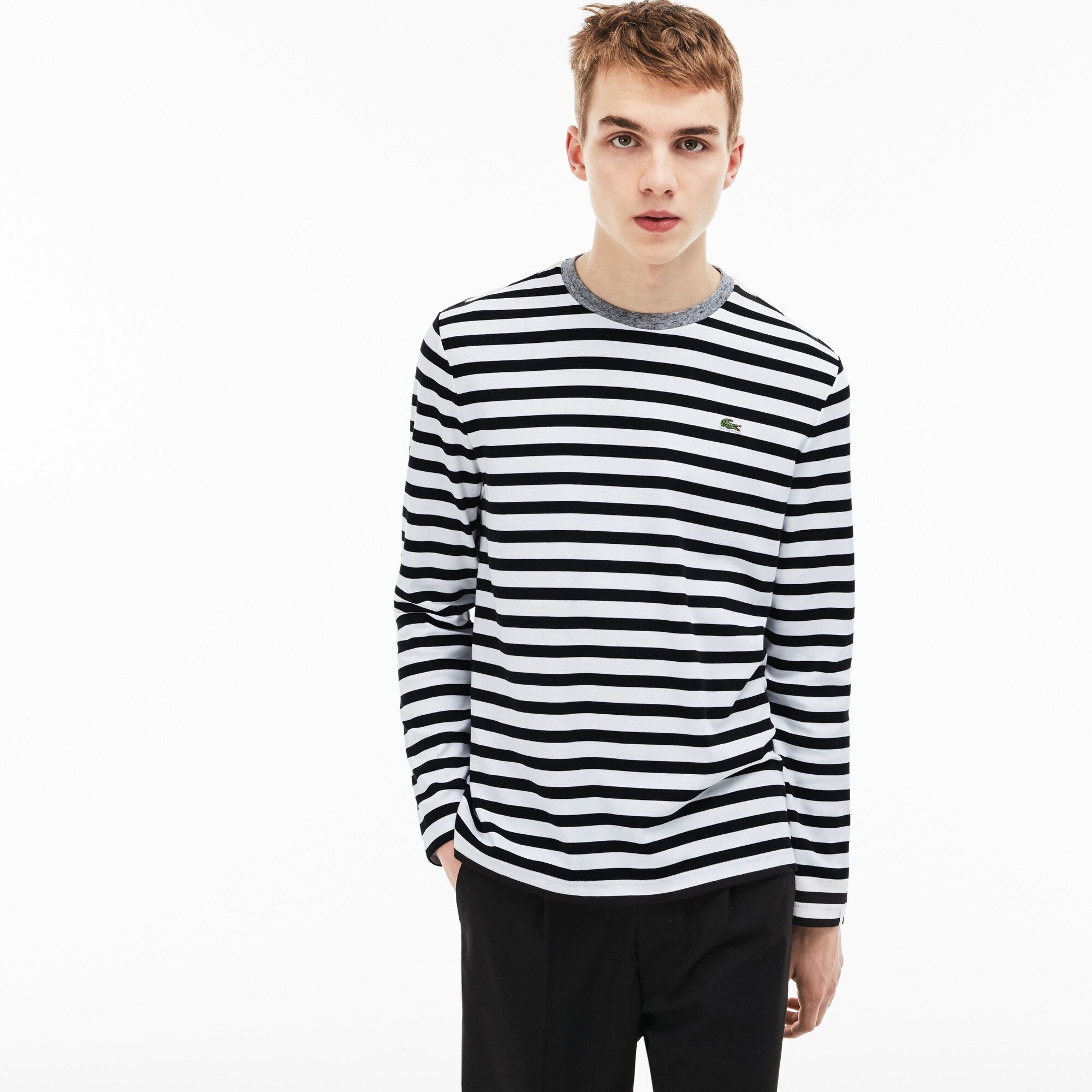 Men's Lacoste LIVE Contrast Collar Cotton Jersey Nautical Shirt