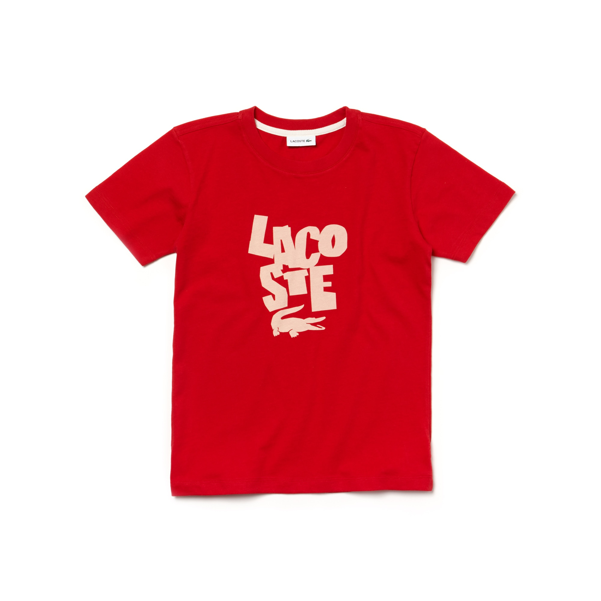 Boys' Crew Neck Lacoste Lettering Jersey T-shirt