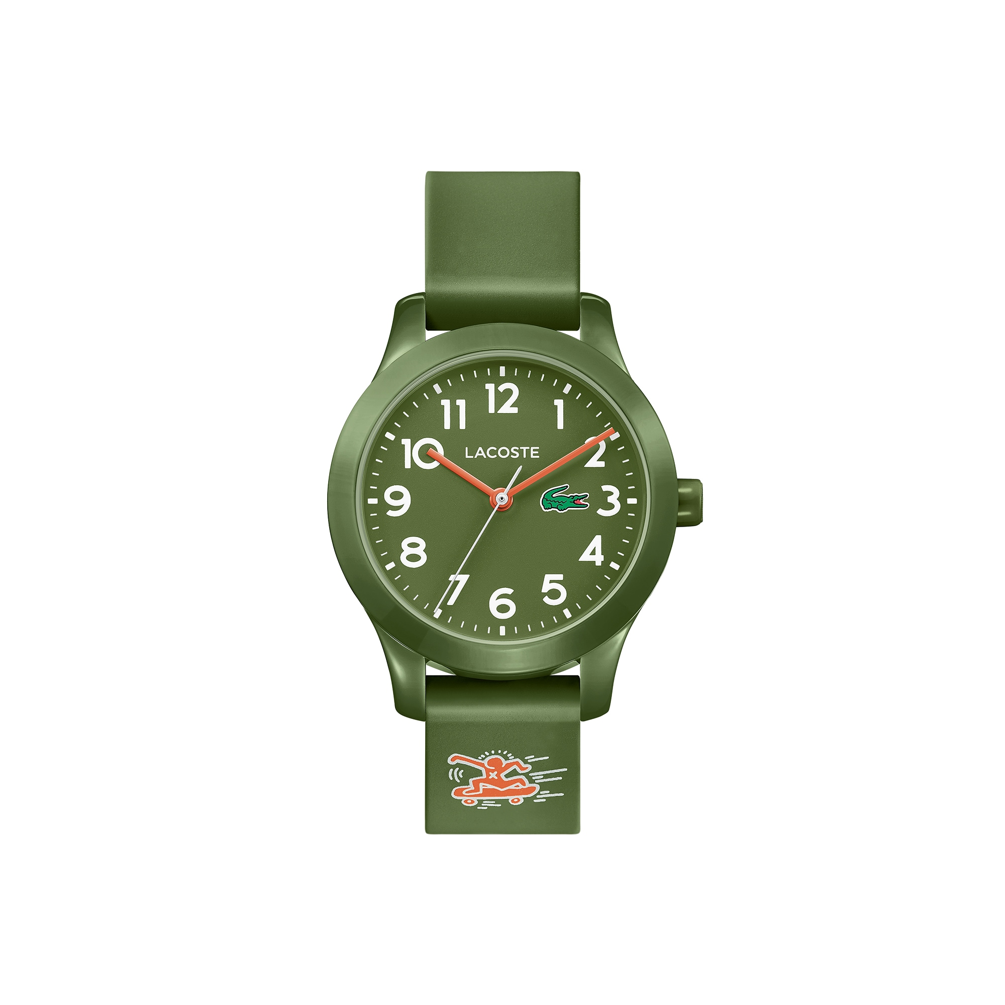 Kids Lacoste.12.12 Watch with Khaki Silicone Keith Haring Print