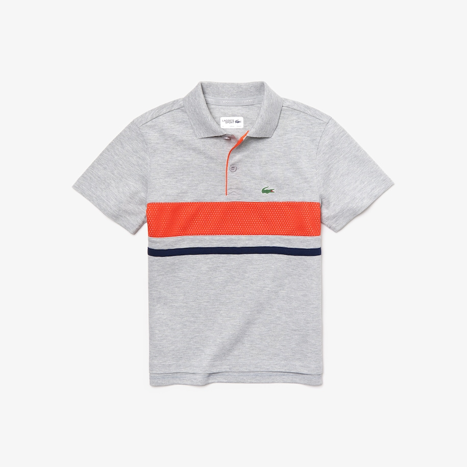 Boys' Lacoste SPORT Mesh Panel Ultra Light Cotton Tennis Polo Shirt