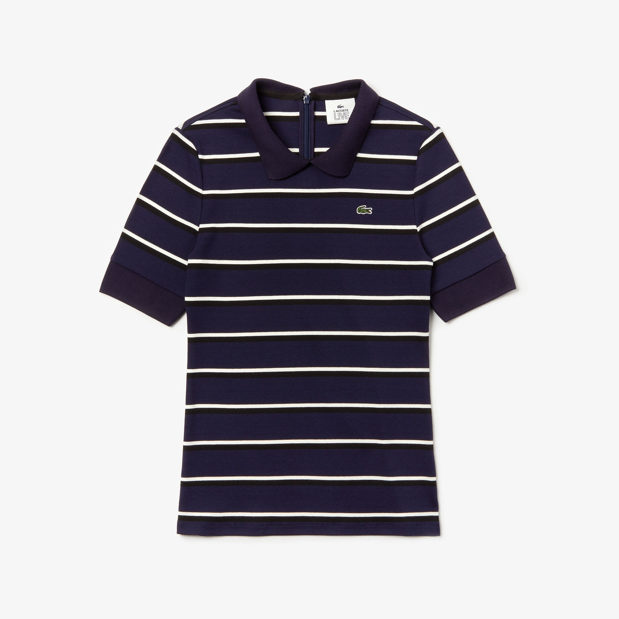 store sorter billig pris officiel Women's Lacoste LIVE Slim Fit Striped Ribbed Knit Polo Shirt