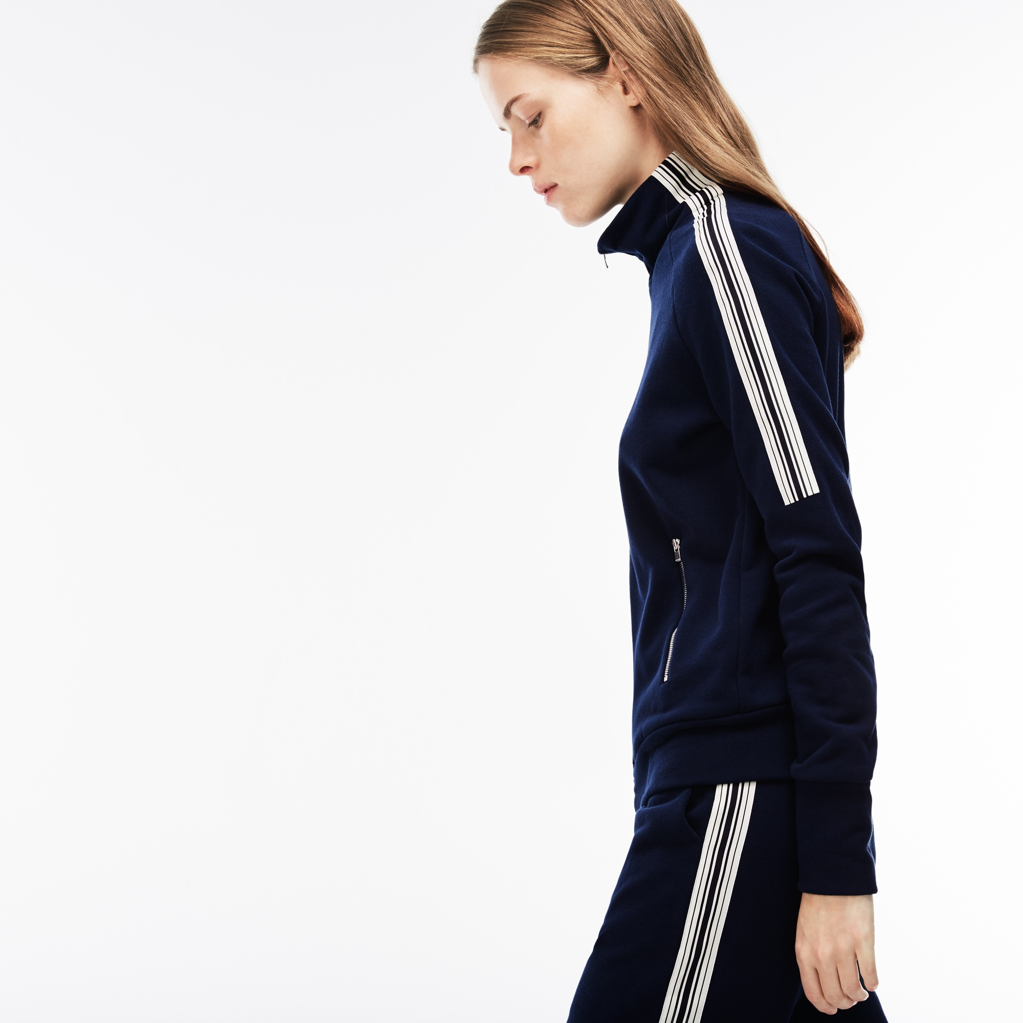 Women's Contrast Bands Crepe Fleece Zip Sweatshirt