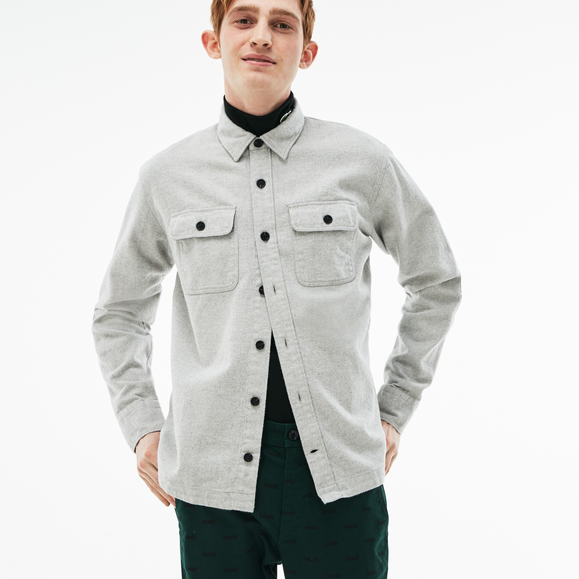 Men's Lacoste LIVE Boxy Fit Cotton Flannel Shirt