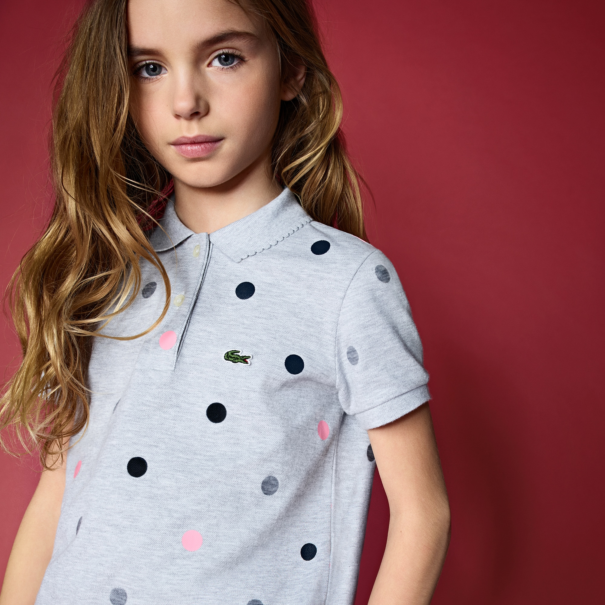 Girls' Scalloped Collar Polka Dot Mini Cotton Piqué Polo