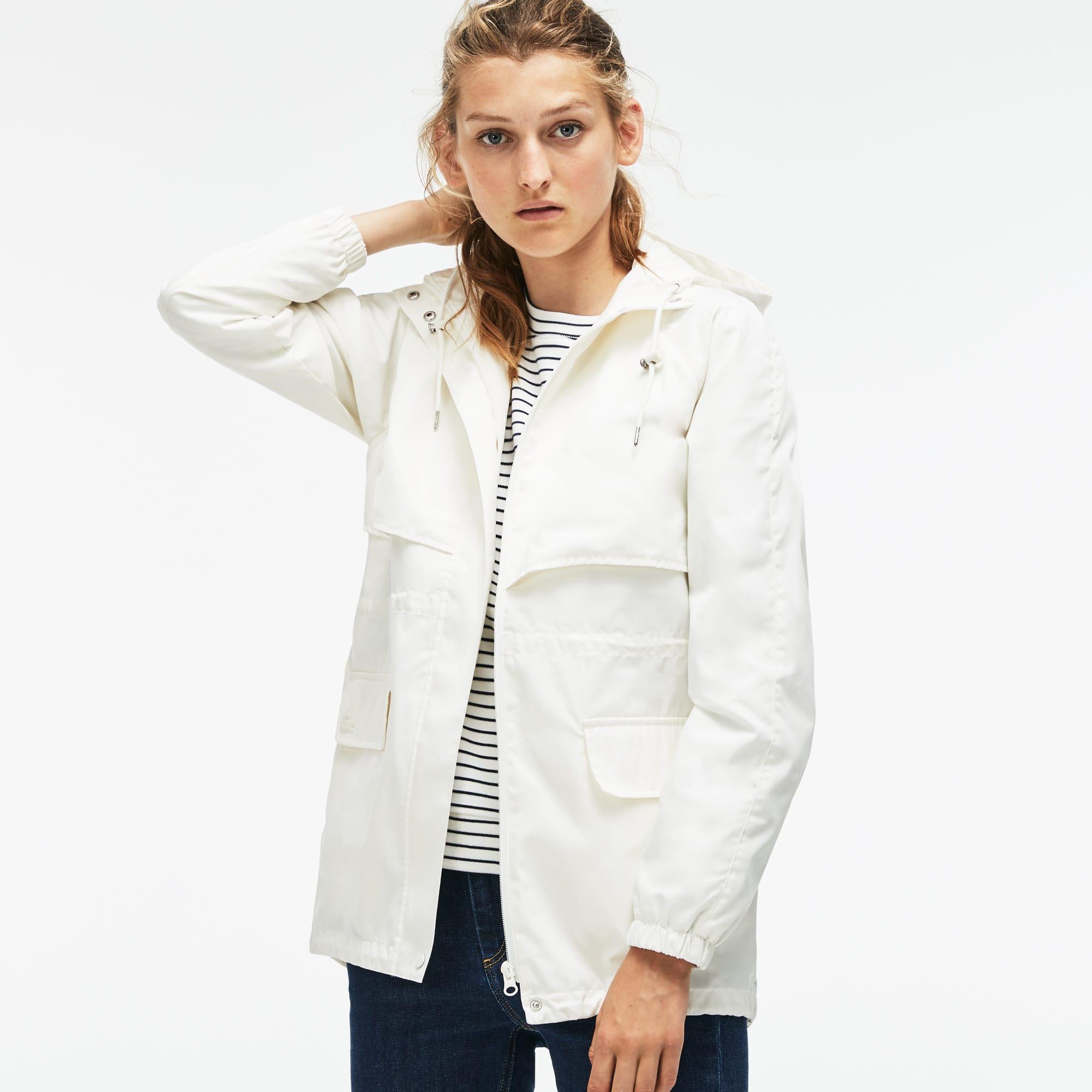 Women's Hooded Long Cotton Twill Windbreaker
