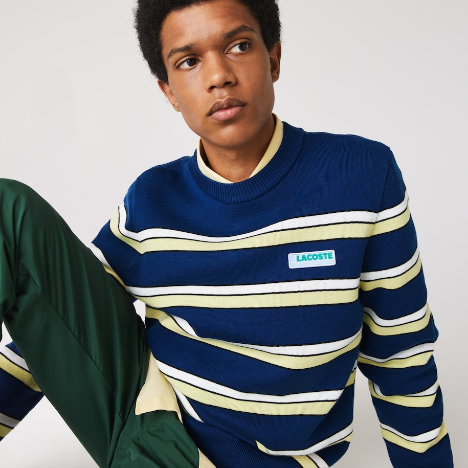 Men's Lacoste LIVE Striped Cotton Crew Neck Sweater