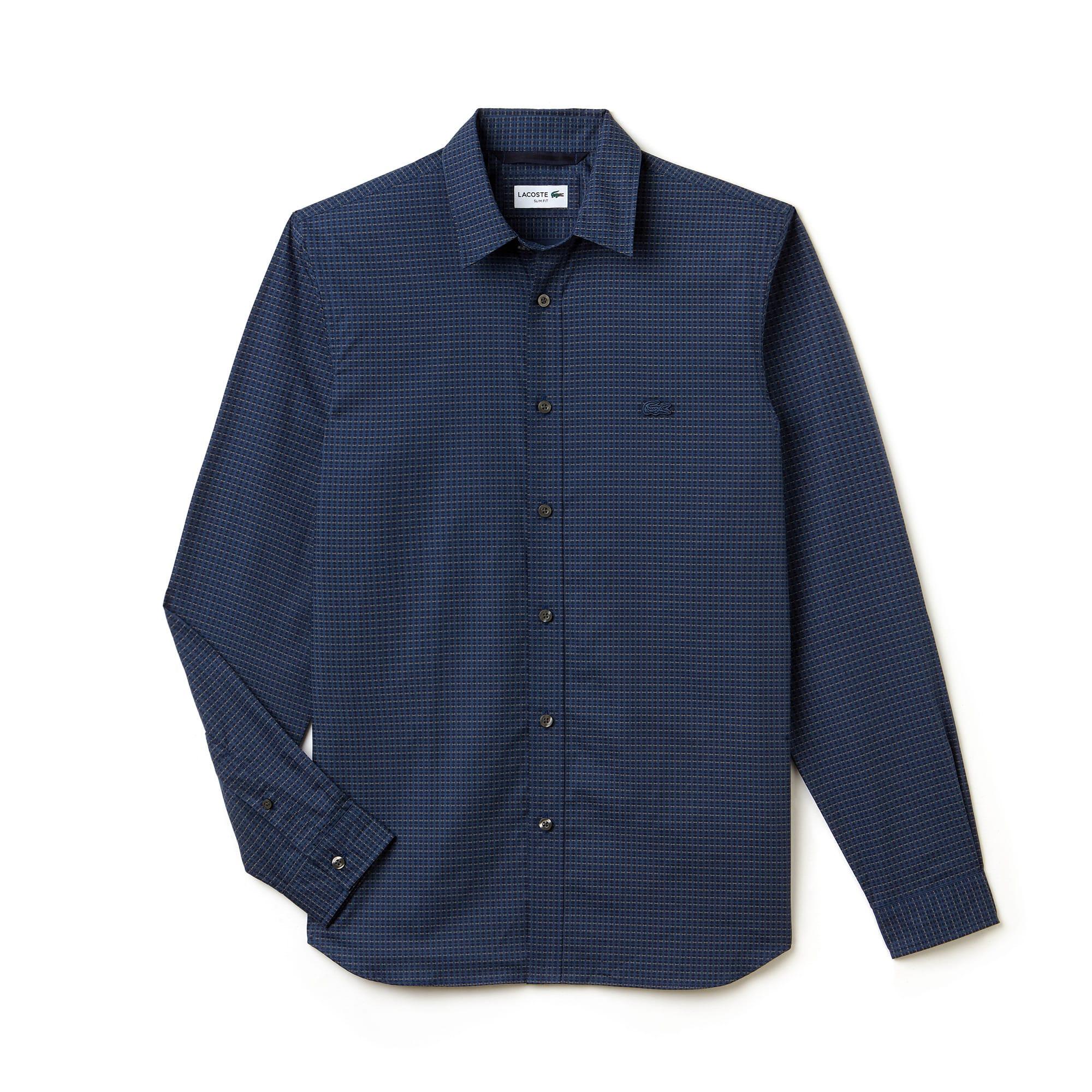 Men's Slim Fit Print Cotton Poplin Shirt