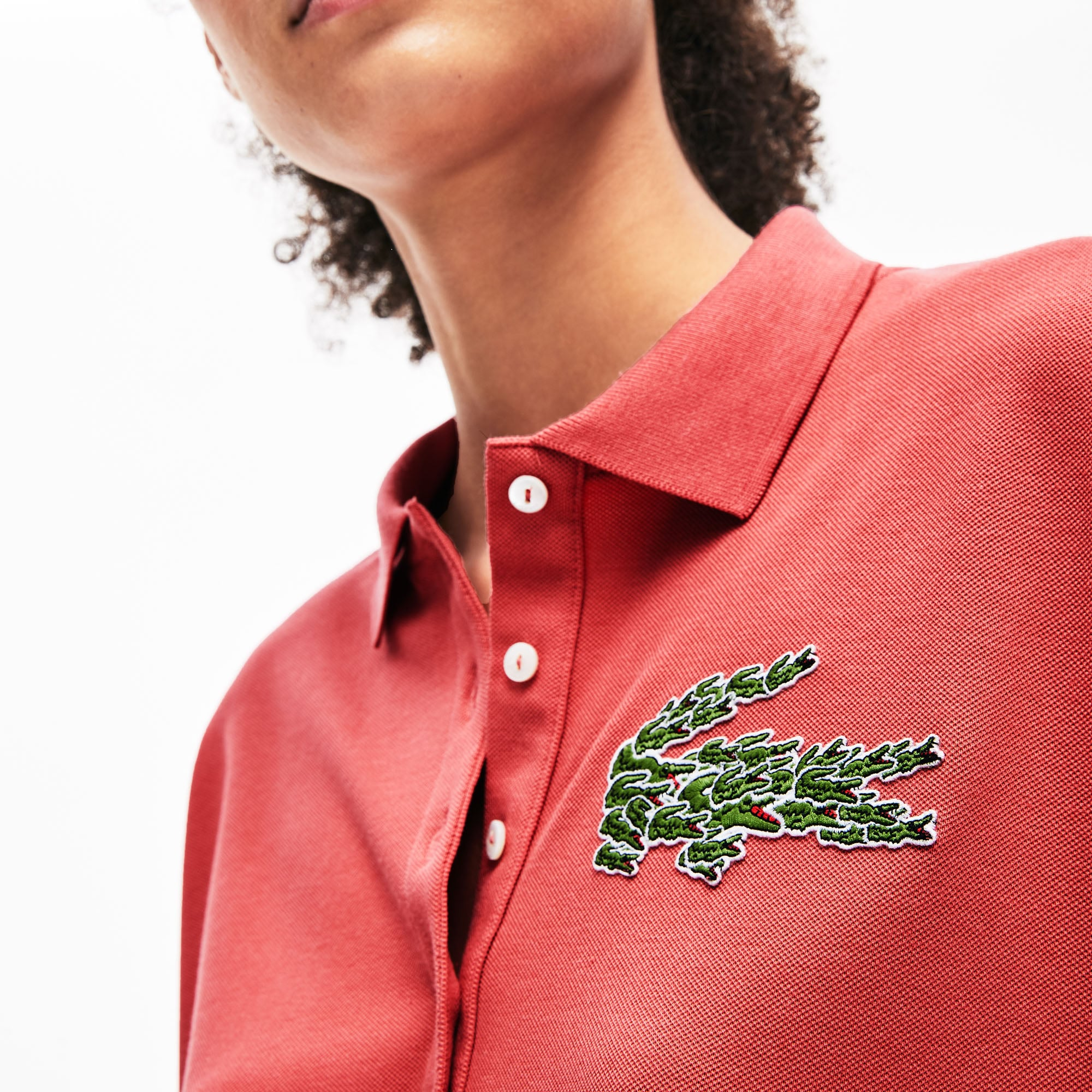 Women's Relaxed Fit Multi Croc Badge Flowing Piqué Polo Shirt