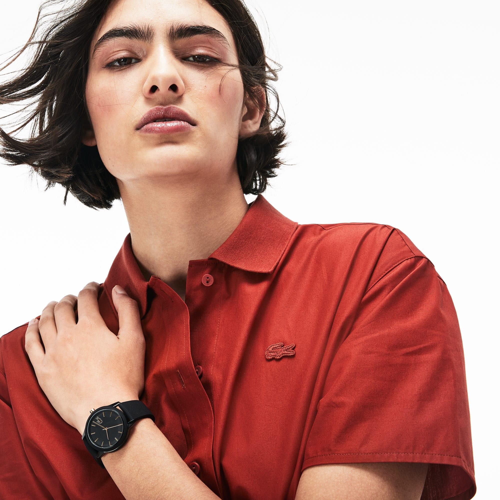 2ee307d76 Ladies Lacoste.12.12 Watch with Black Silicone Petit Piqué Strap