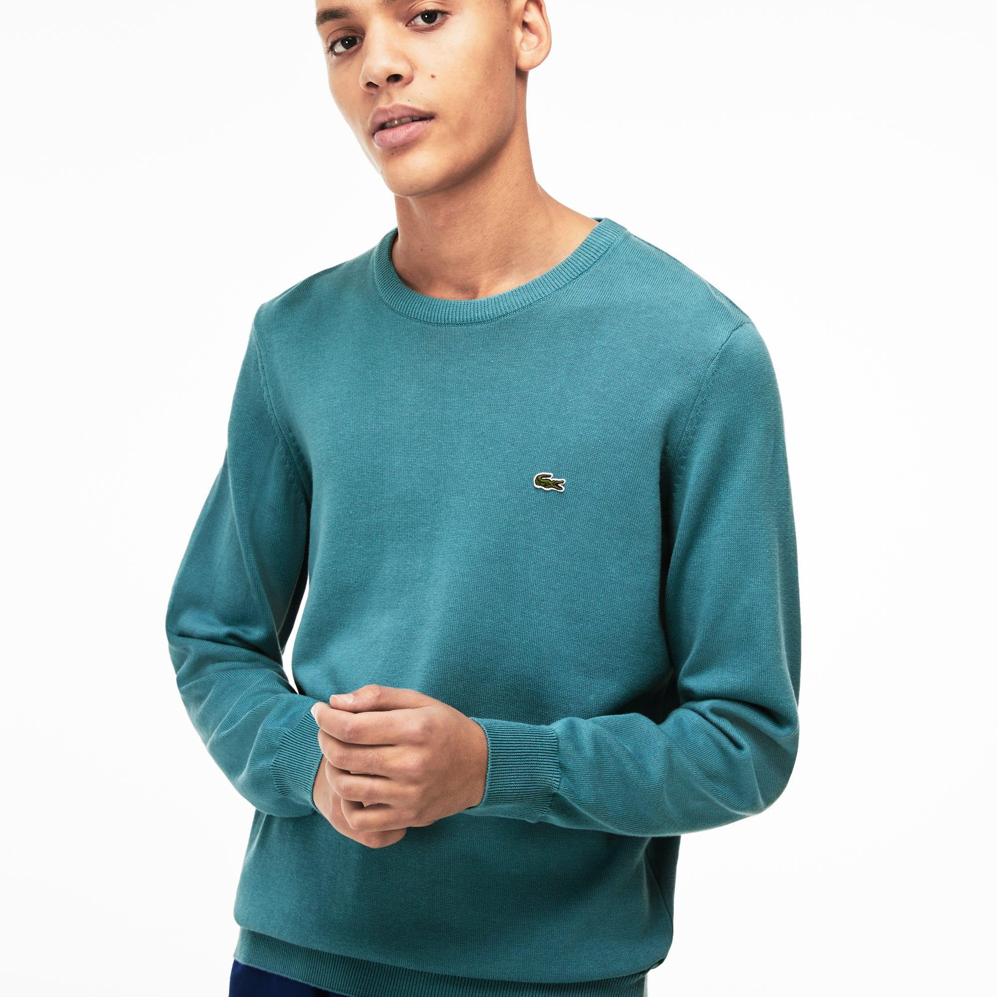 930cb455 Men's Crew Neck Caviar Piqué Accent Cotton Jersey Sweater